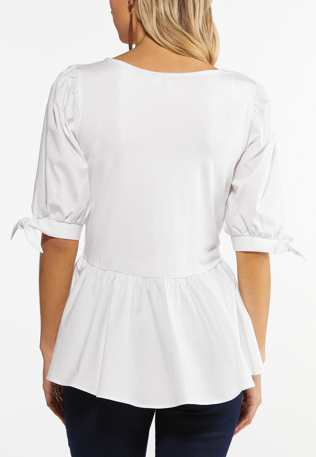 Plus Size Puff Sleeve Peplum Top (Item #44491395)
