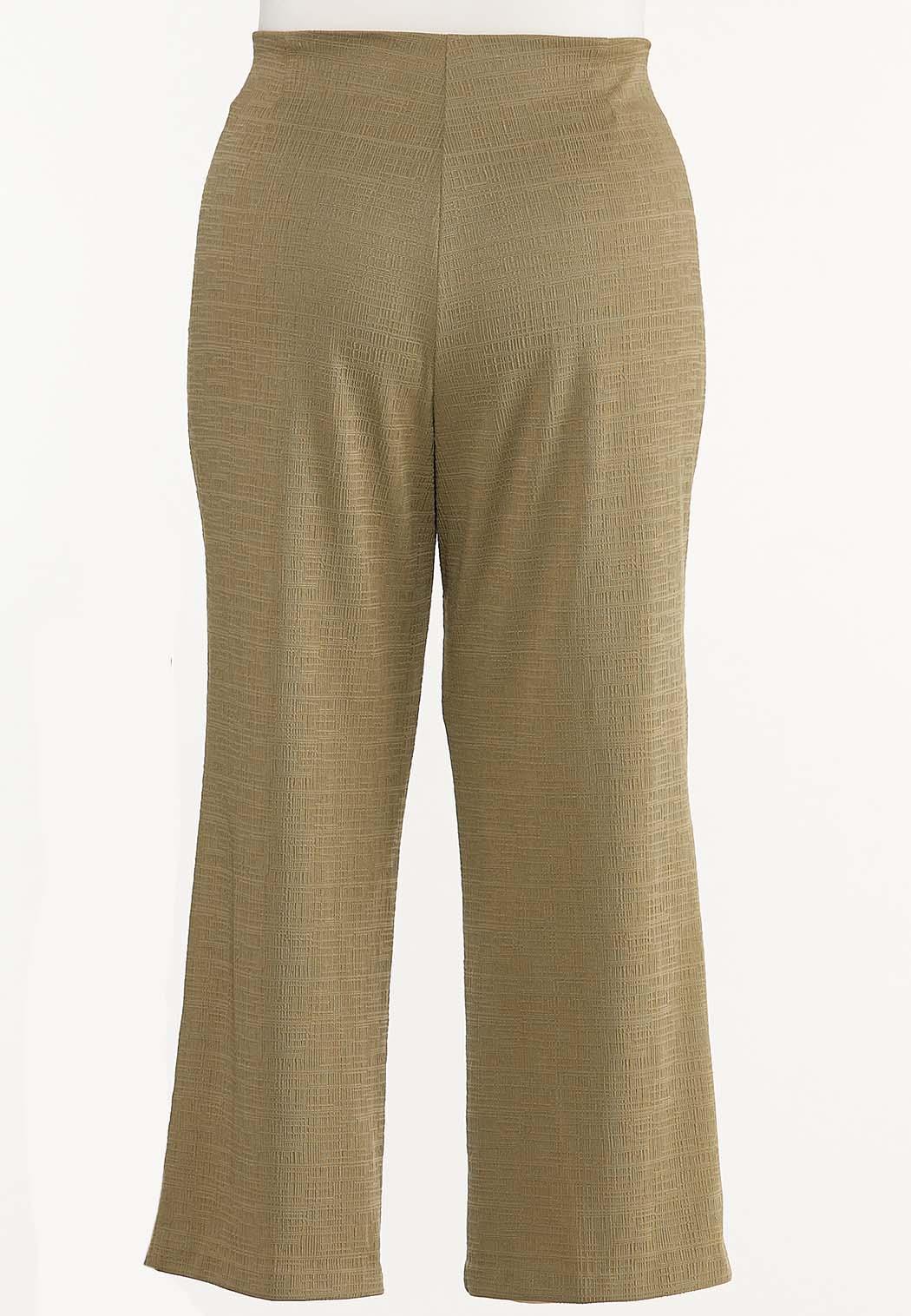Plus Size Textured Self-Tie Pants (Item #44491537)