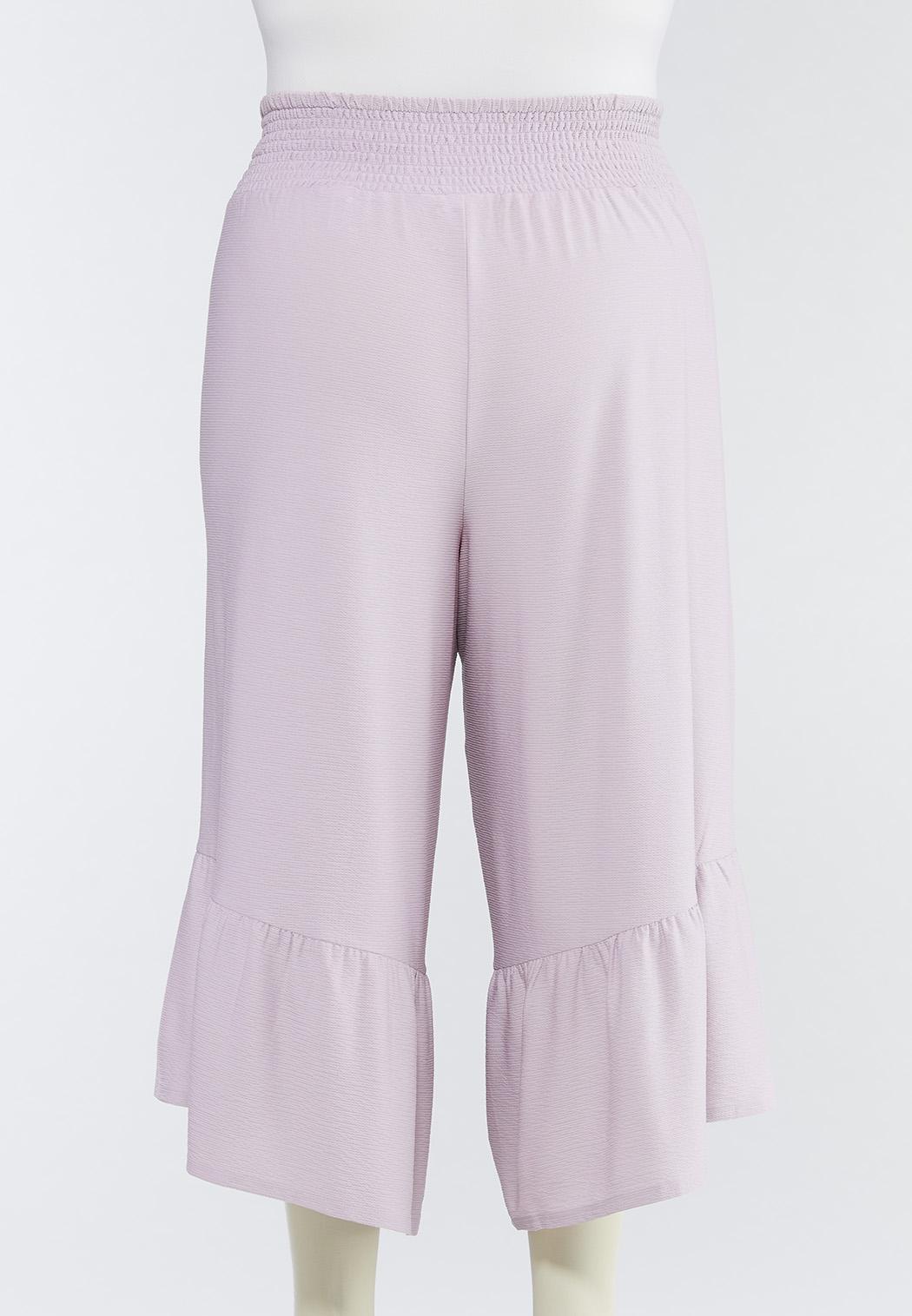 Plus Size Cropped Ruffled Pants (Item #44491662)