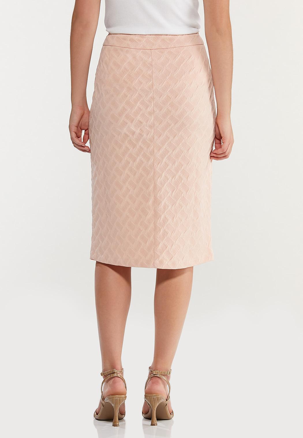 Plus Size Textured Blush Pencil Skirt (Item #44491692)