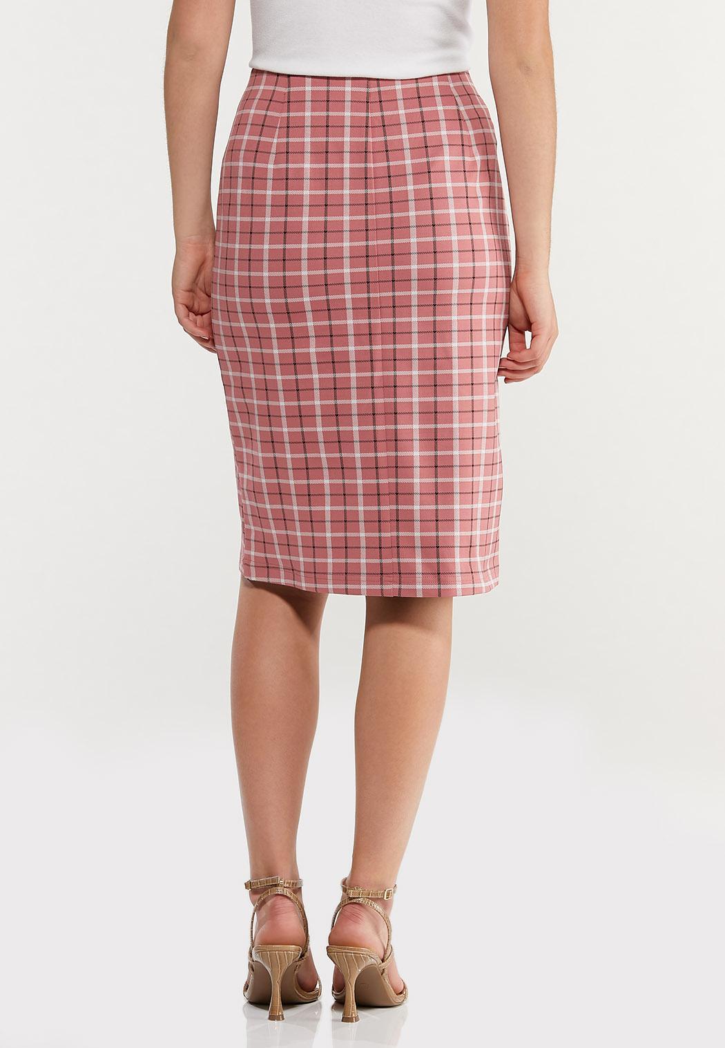 Plus Size Rose Plaid Pencil Skirt (Item #44491713)
