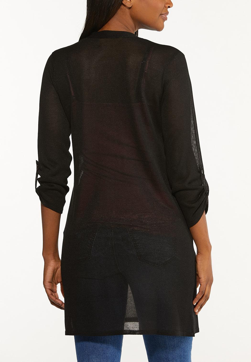 Plus Size Sheer Longline Cardigan (Item #44491750)