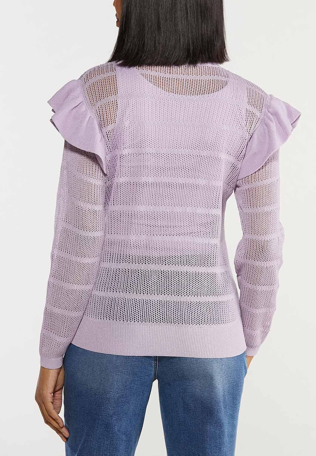 Striped Ruffled Sleeve Sweater (Item #44492145)