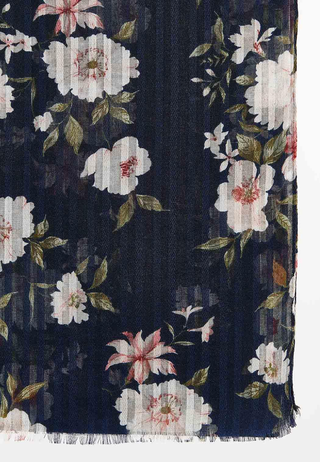 Navy Floral Oblong Scarf (Item #44492276)