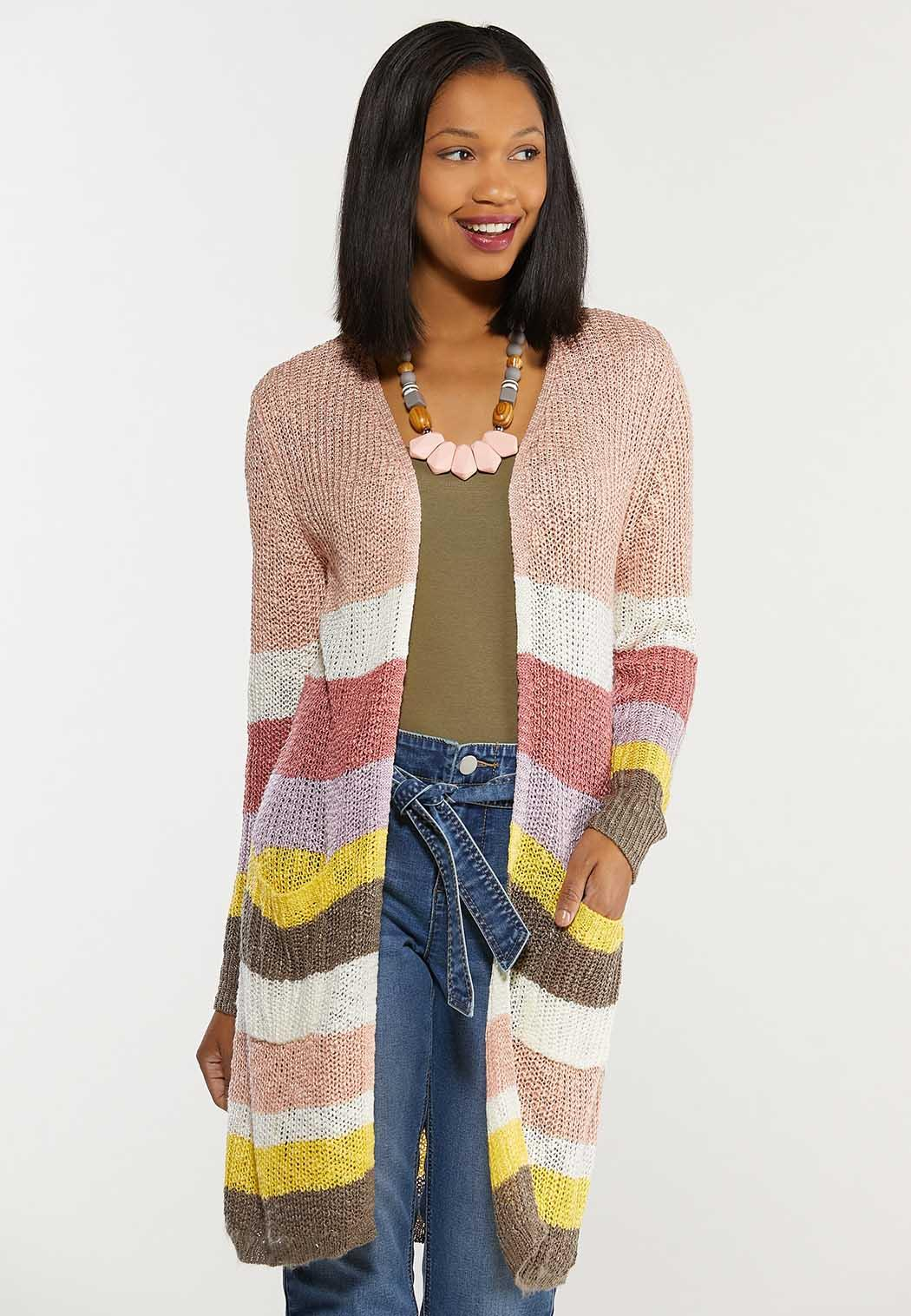 Plus Size Sweet Stripe Cardigan Sweater (Item #44492434)