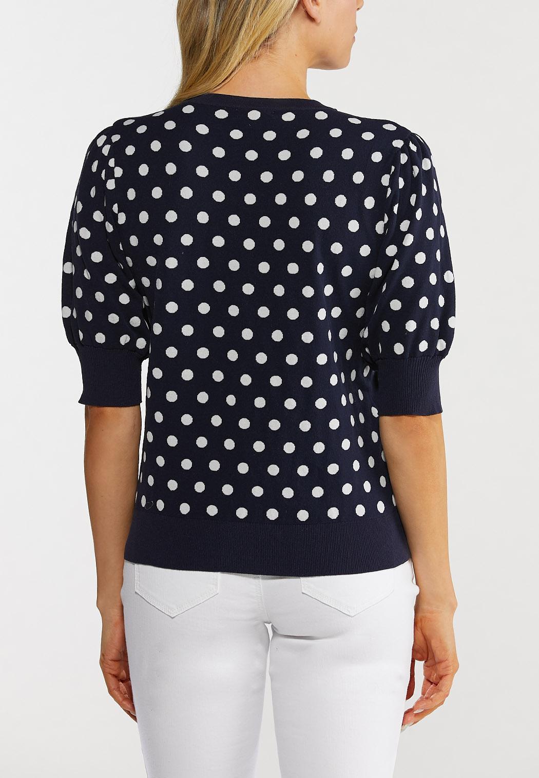 Navy Polka Dot Puff Sleeve Sweater (Item #44492482)
