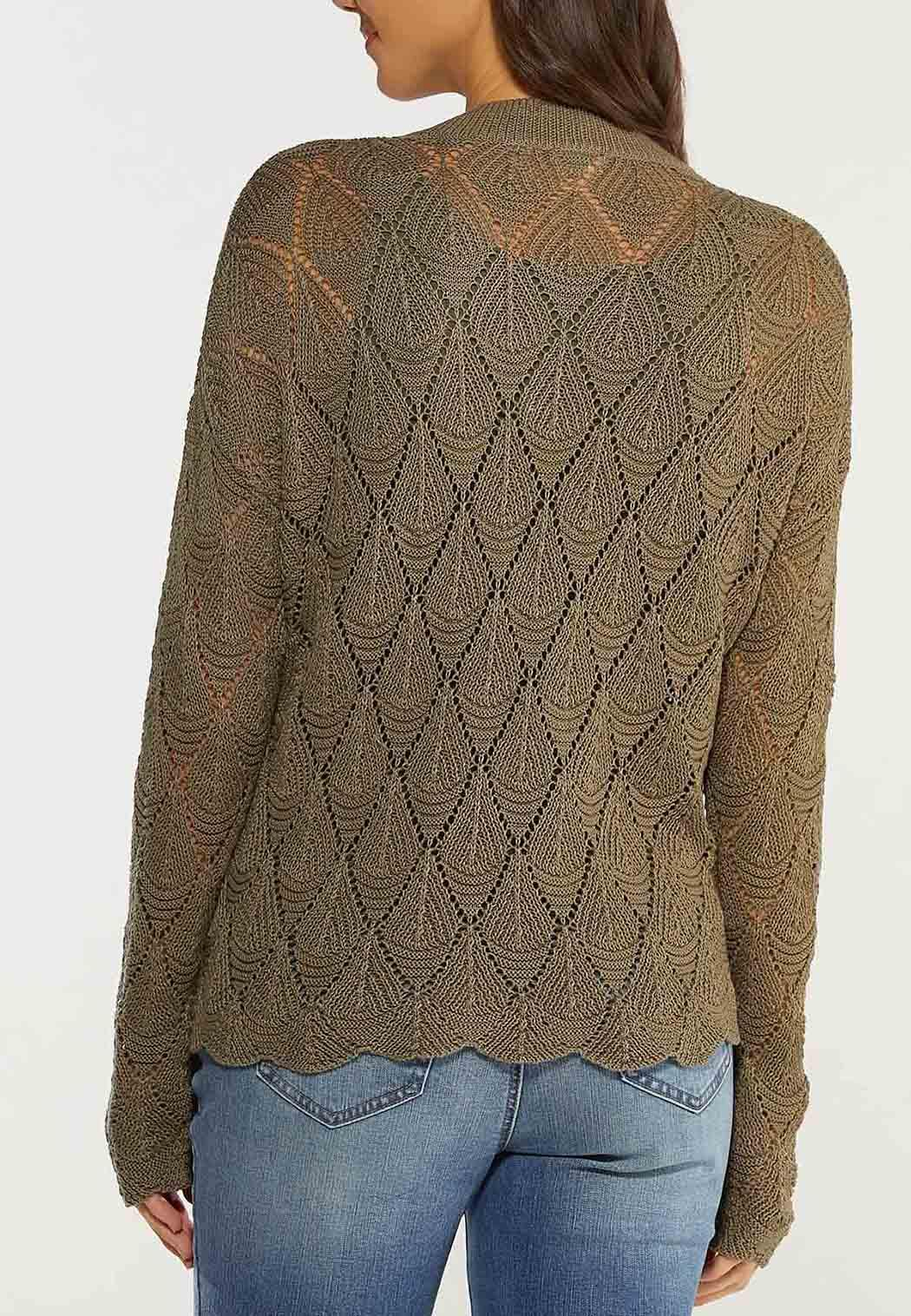 Plus Size Green Pointelle Sweater (Item #44492538)
