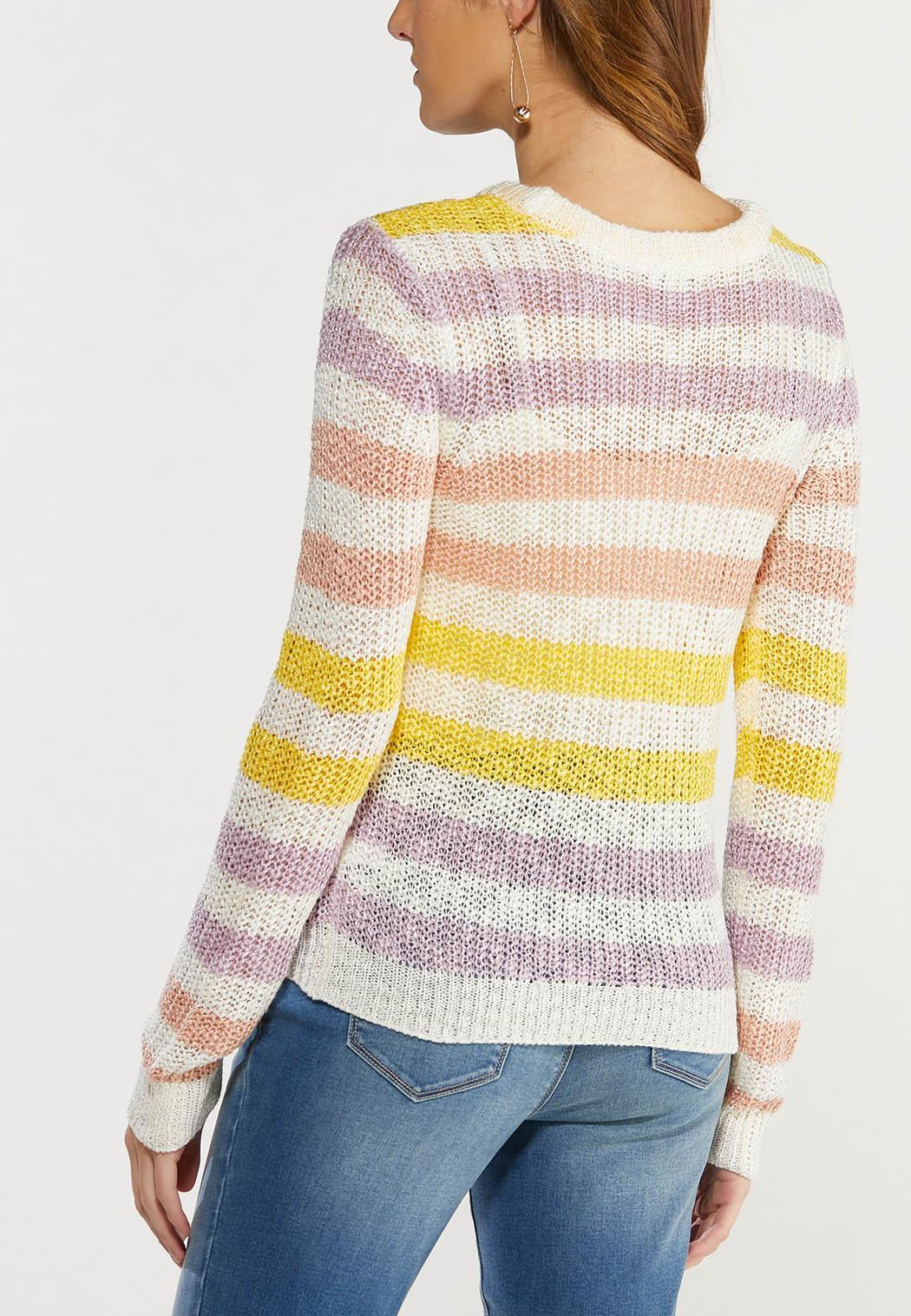 Plus Size Pastel Stripe Sweater (Item #44492637)