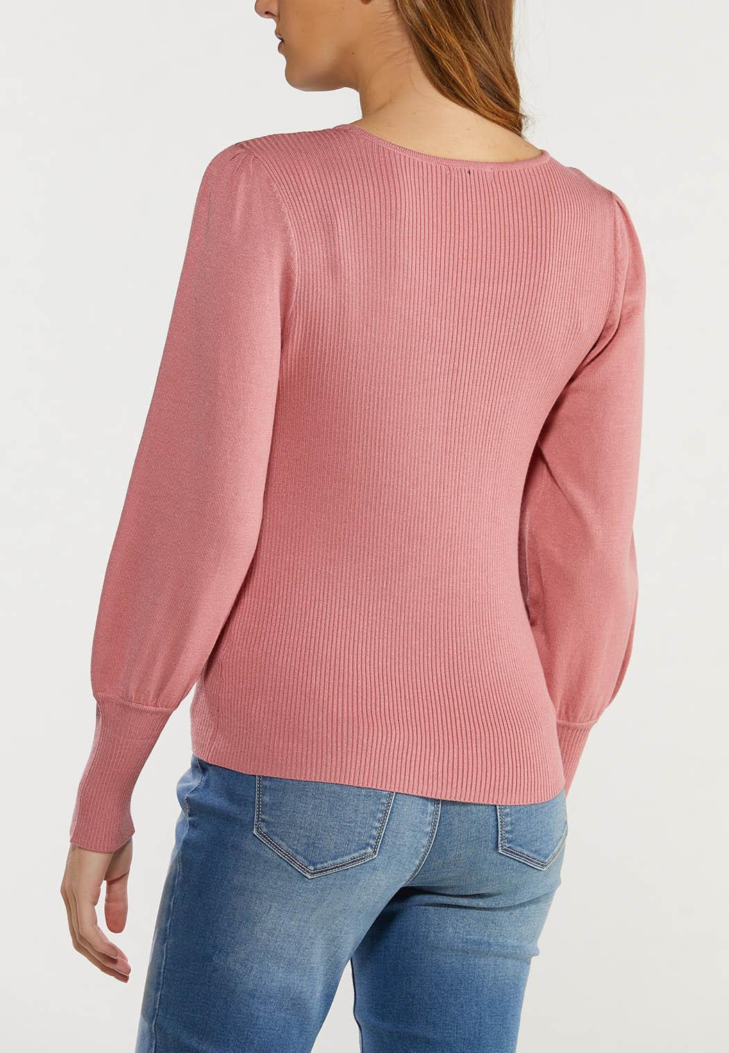 Plus Size Rose Balloon Sleeve Sweater (Item #44492657)