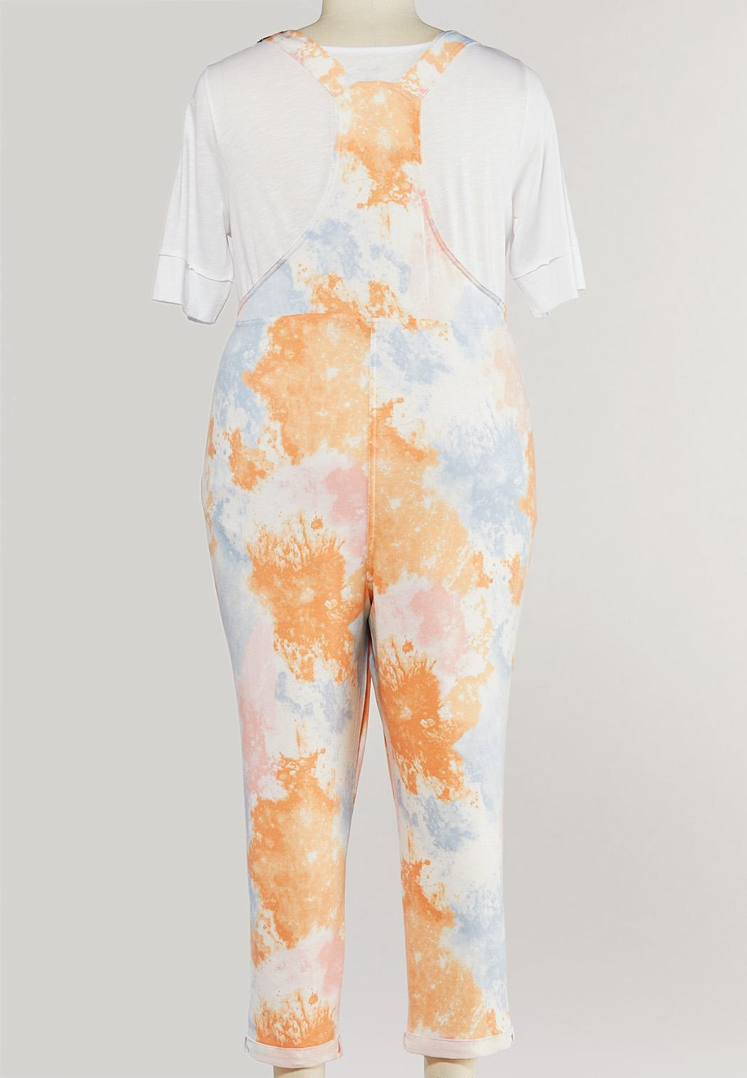 Plus Size Cropped Tie Dye Overalls (Item #44493217)