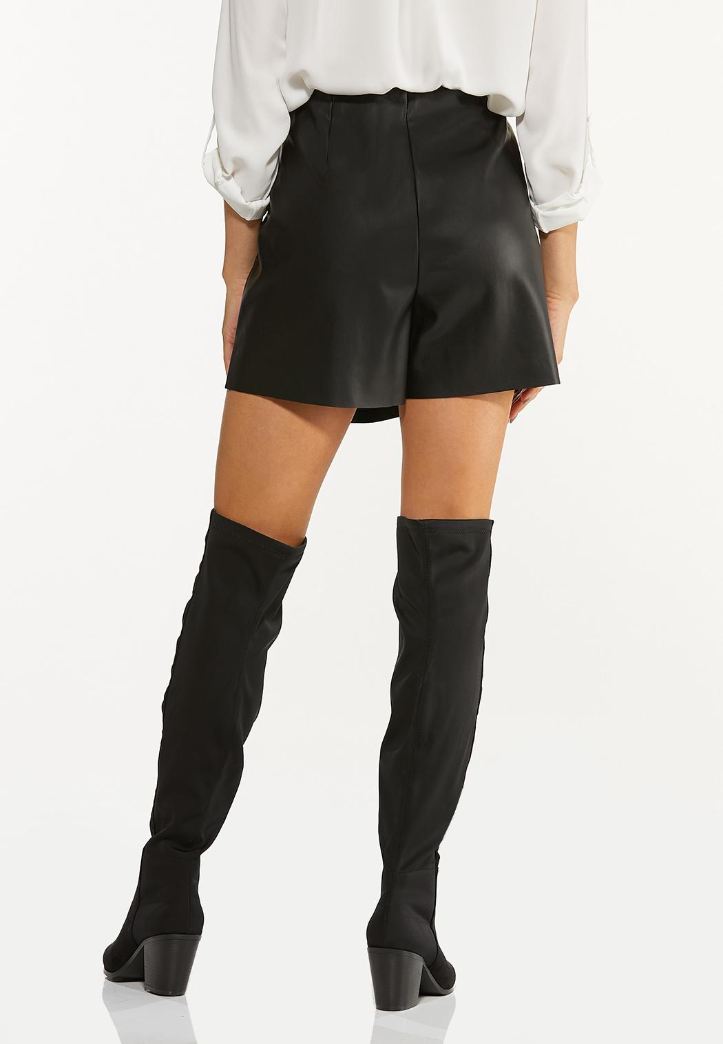 Black Faux Leather Skort (Item #44493451)