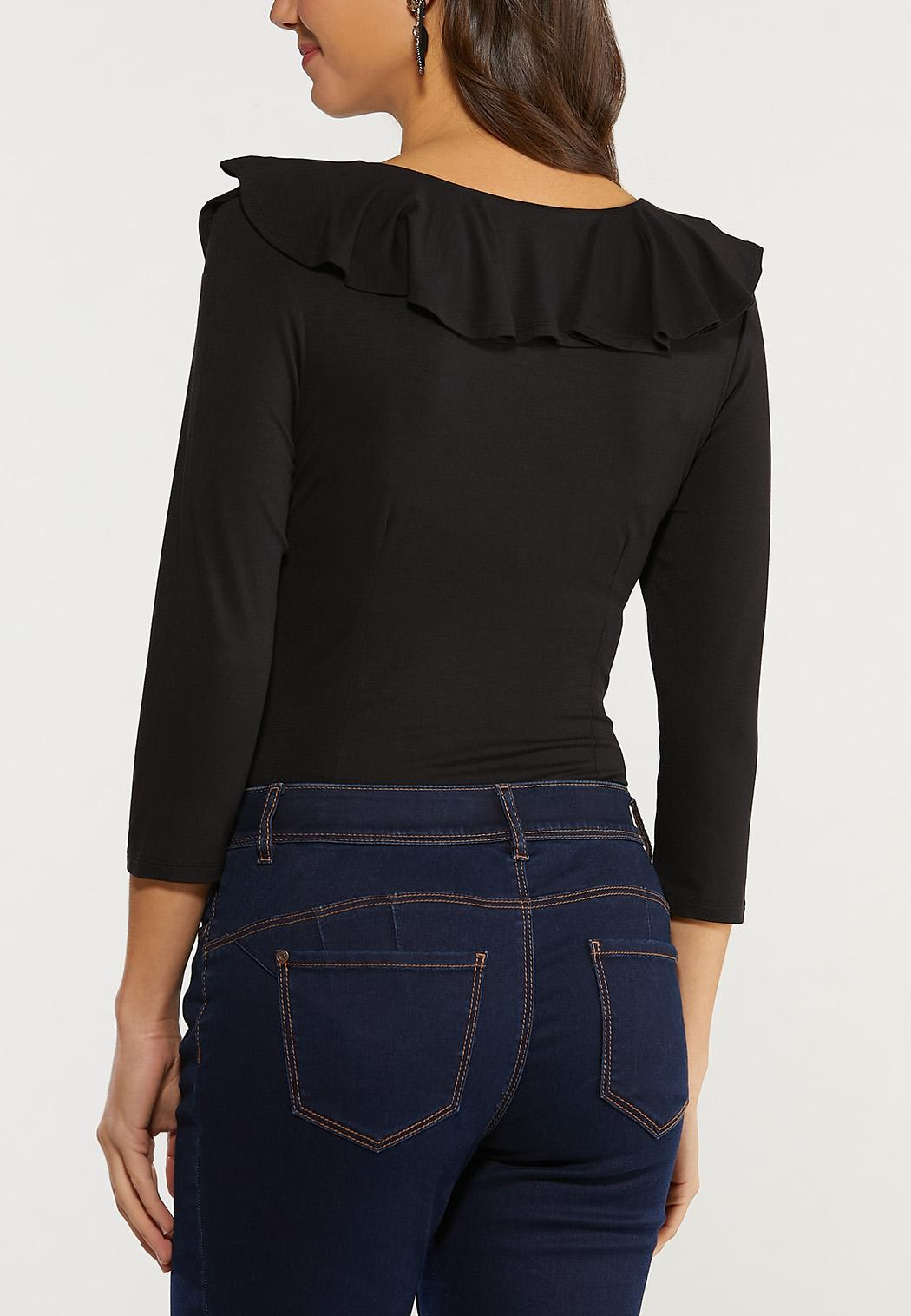 Plus Size Ruffled V-Neck Bodysuit (Item #44493544)