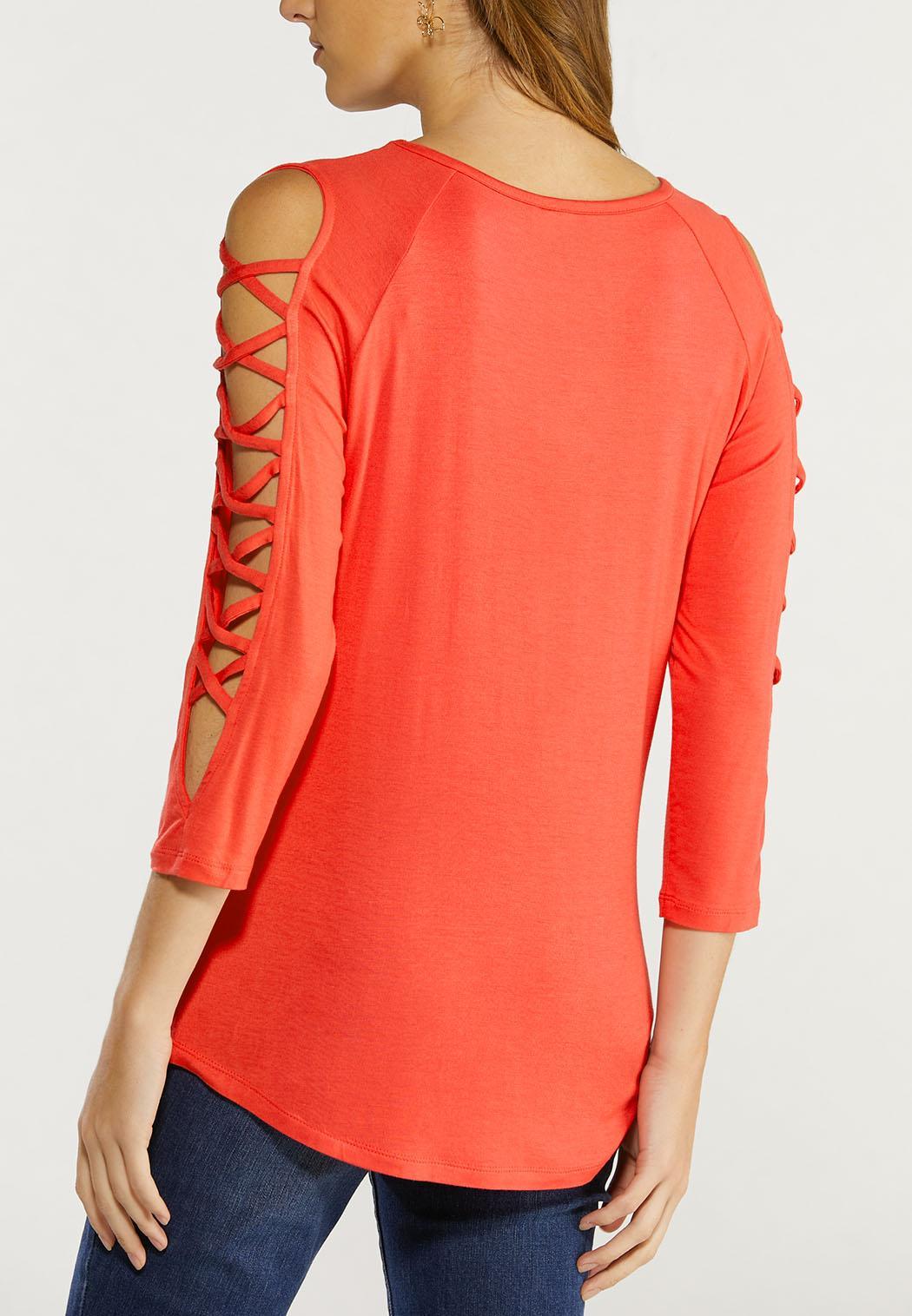 Plus Size Cutout Criss Cross Sleeve Top (Item #44493721)