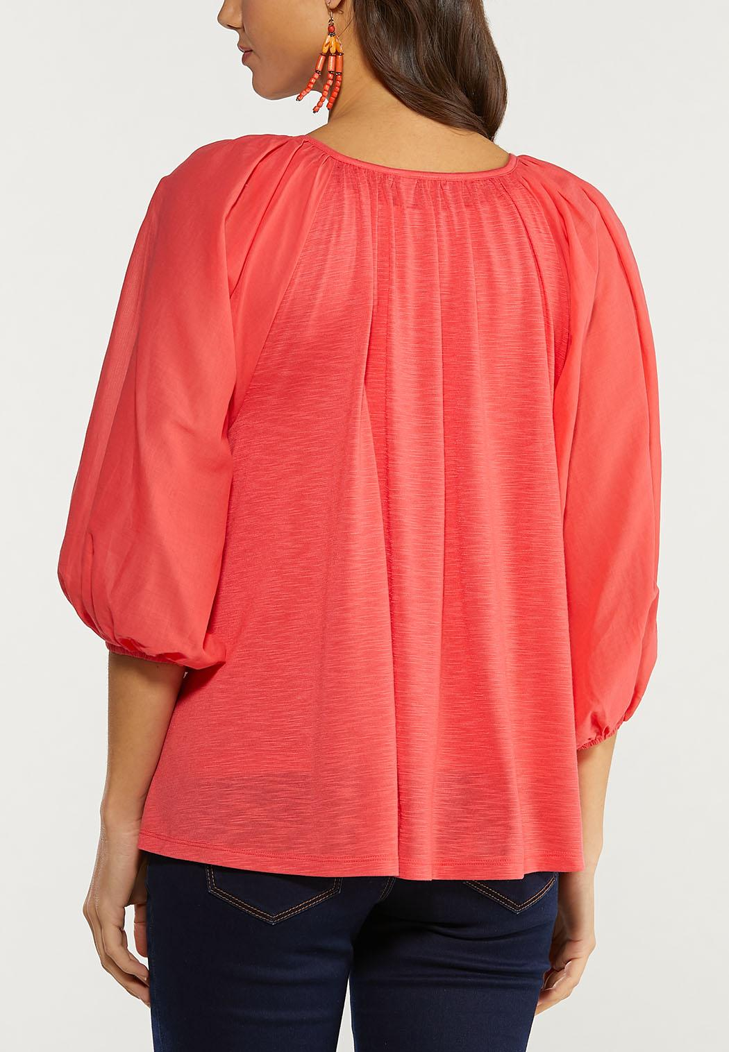 Plus Size Spice Coral Balloon Sleeve Top (Item #44493738)