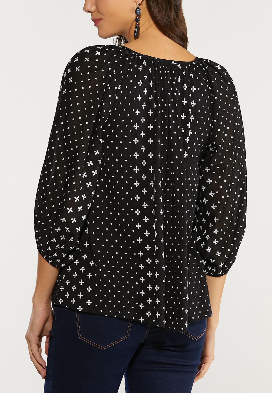 Plus Size Clover Dot Poet Top (Item #44493756)