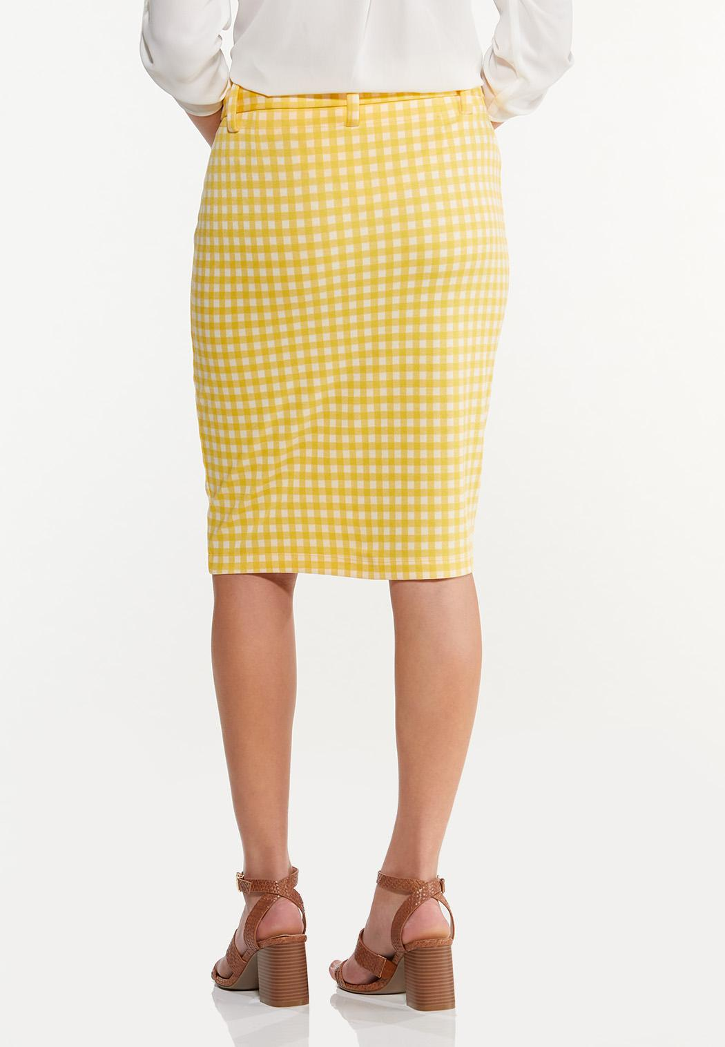 Plus Size Gold Gingham Skirt (Item #44493903)