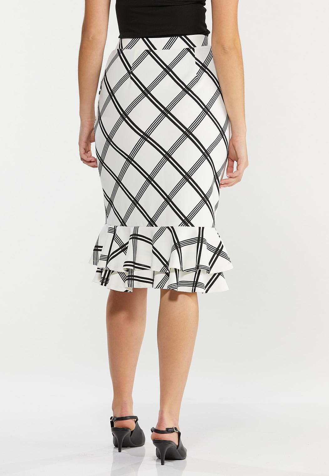 Plus Size Plaid Double Ruffle Skirt (Item #44493921)