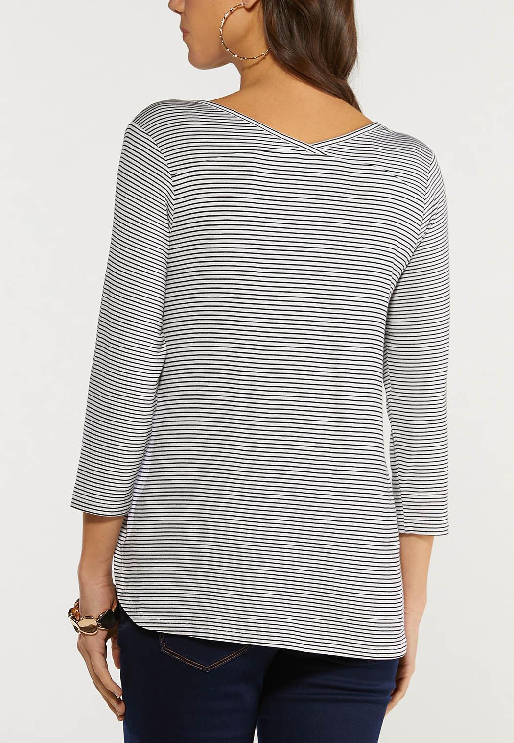 Plus Size Striped Floral Top (Item #44494522)