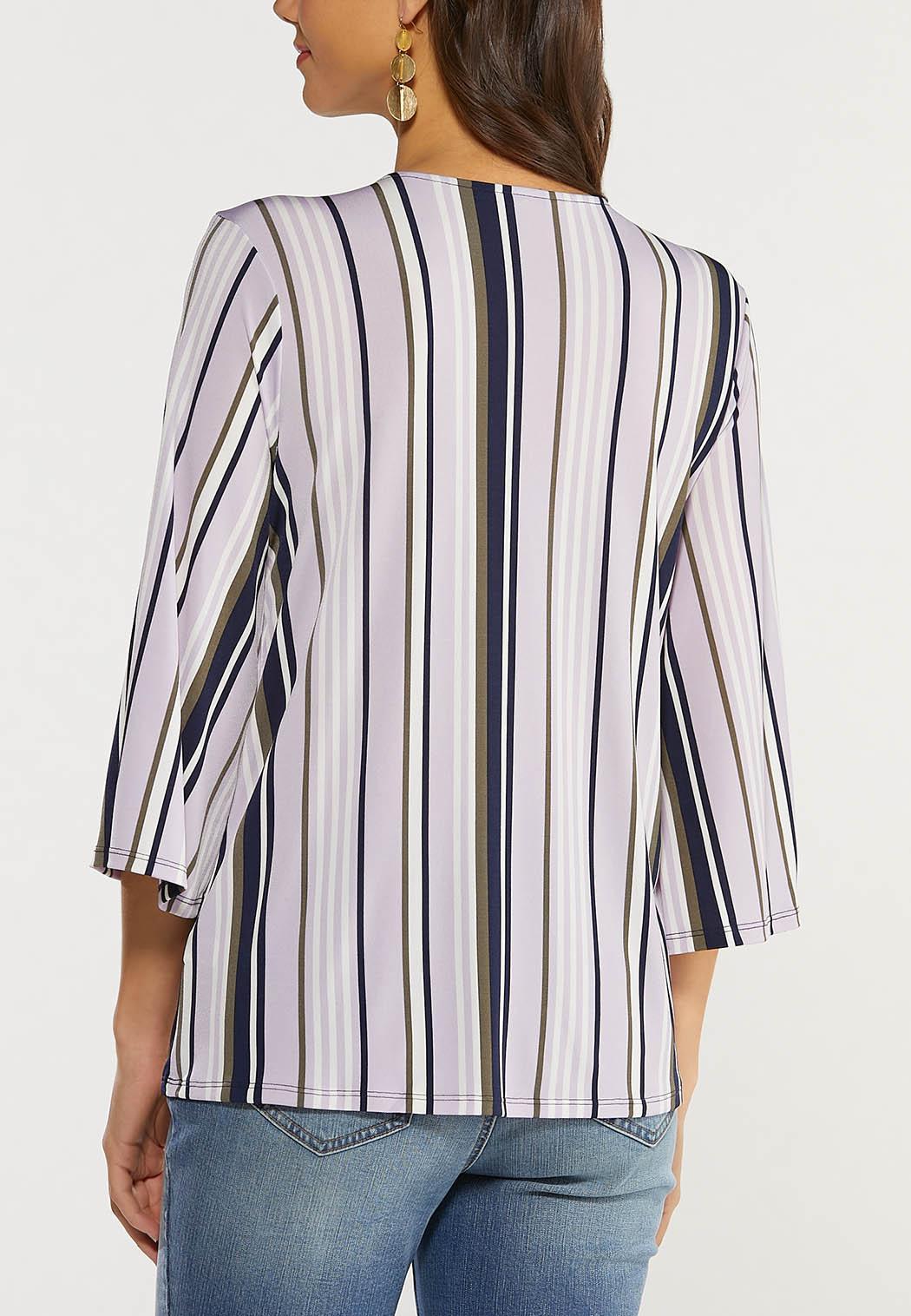 Plus Size Embellished Lavender Stripe Top (Item #44495047)