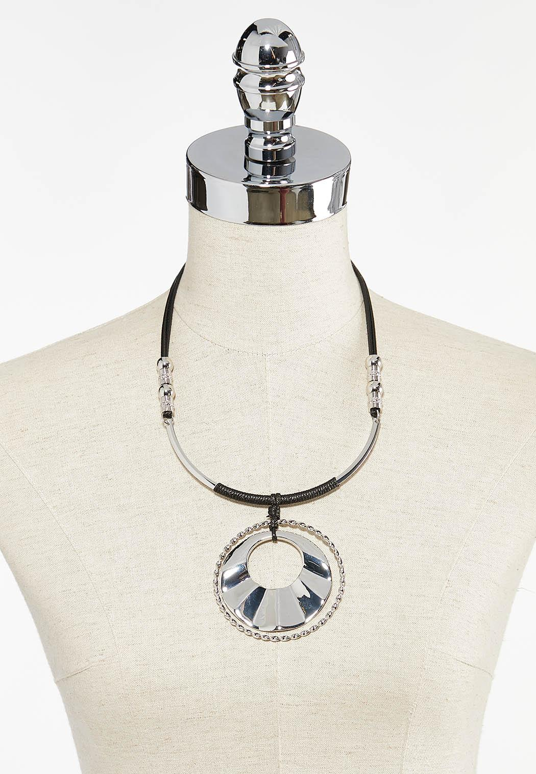 Corded Circle Pendant Necklace (Item #44495746)