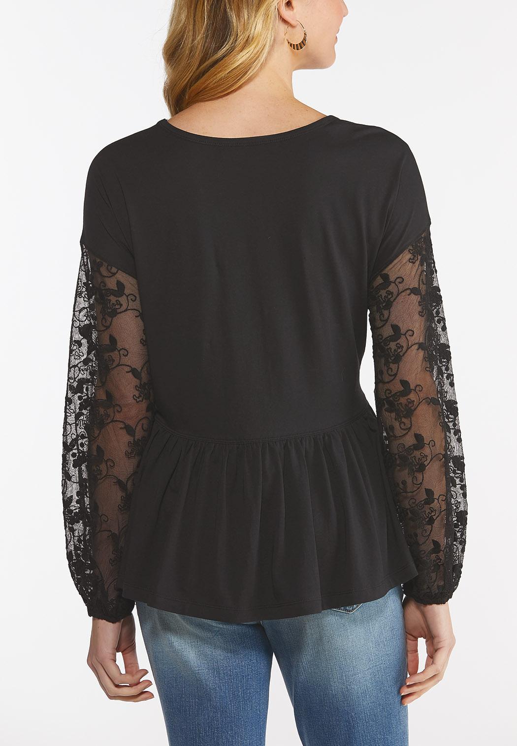 Plus Size Lace Sleeve Peplum Top (Item #44496196)