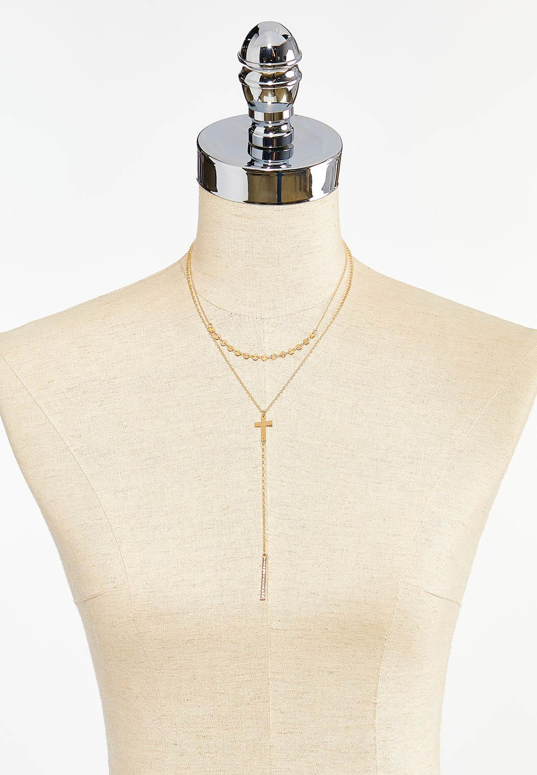 Delicate Layered Cross Necklace (Item #44496265)