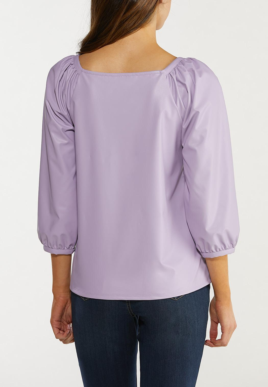 Plus Size Faux Leather Puff Sleeve Top (Item #44496532)