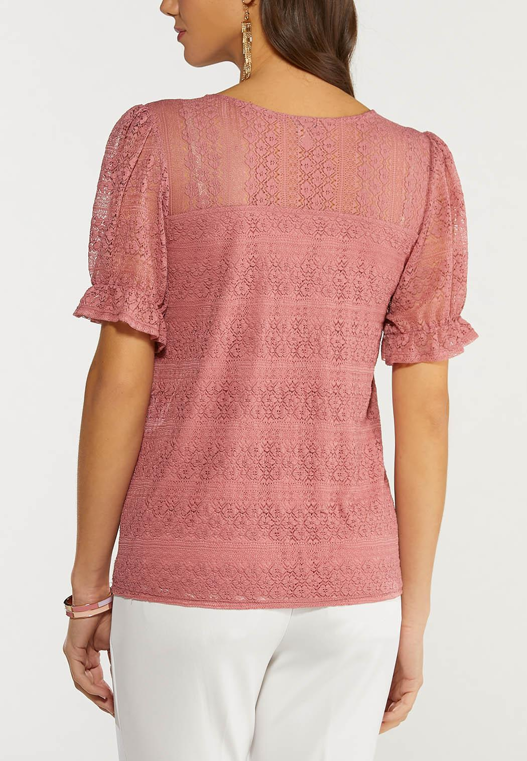 Plus Size Lace Puff Sleeve Top (Item #44496660)