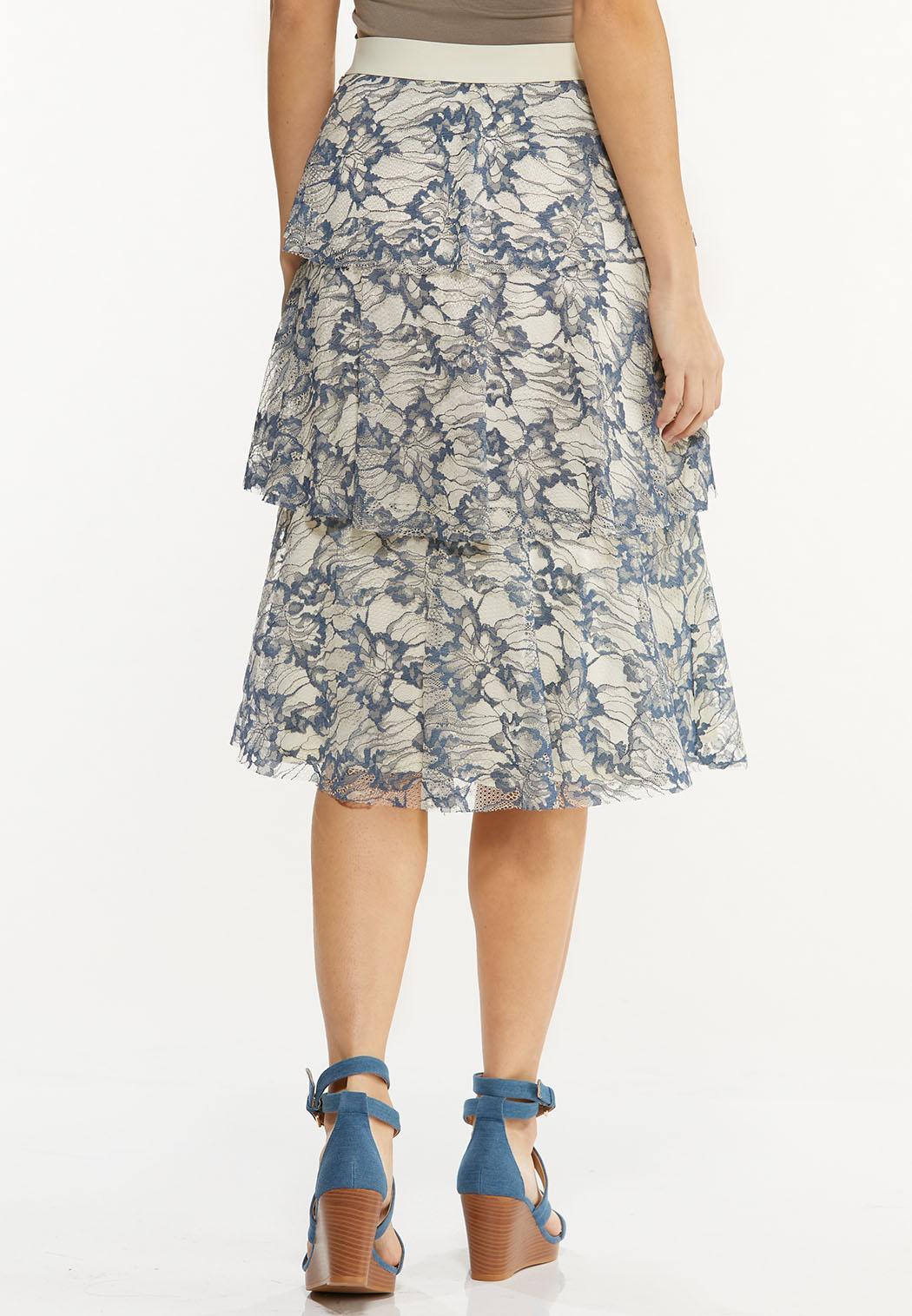 Plus Size Tiered Lace Midi Skirt (Item #44497049)