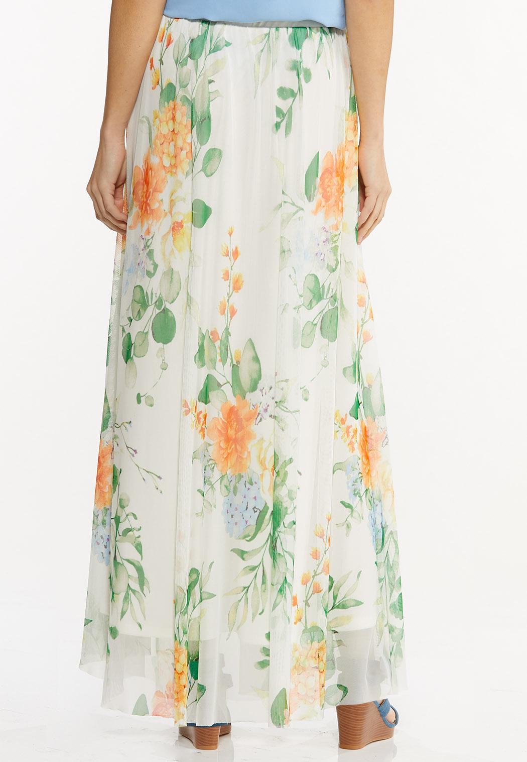 Mesh Floral Maxi Skirt (Item #44497117)