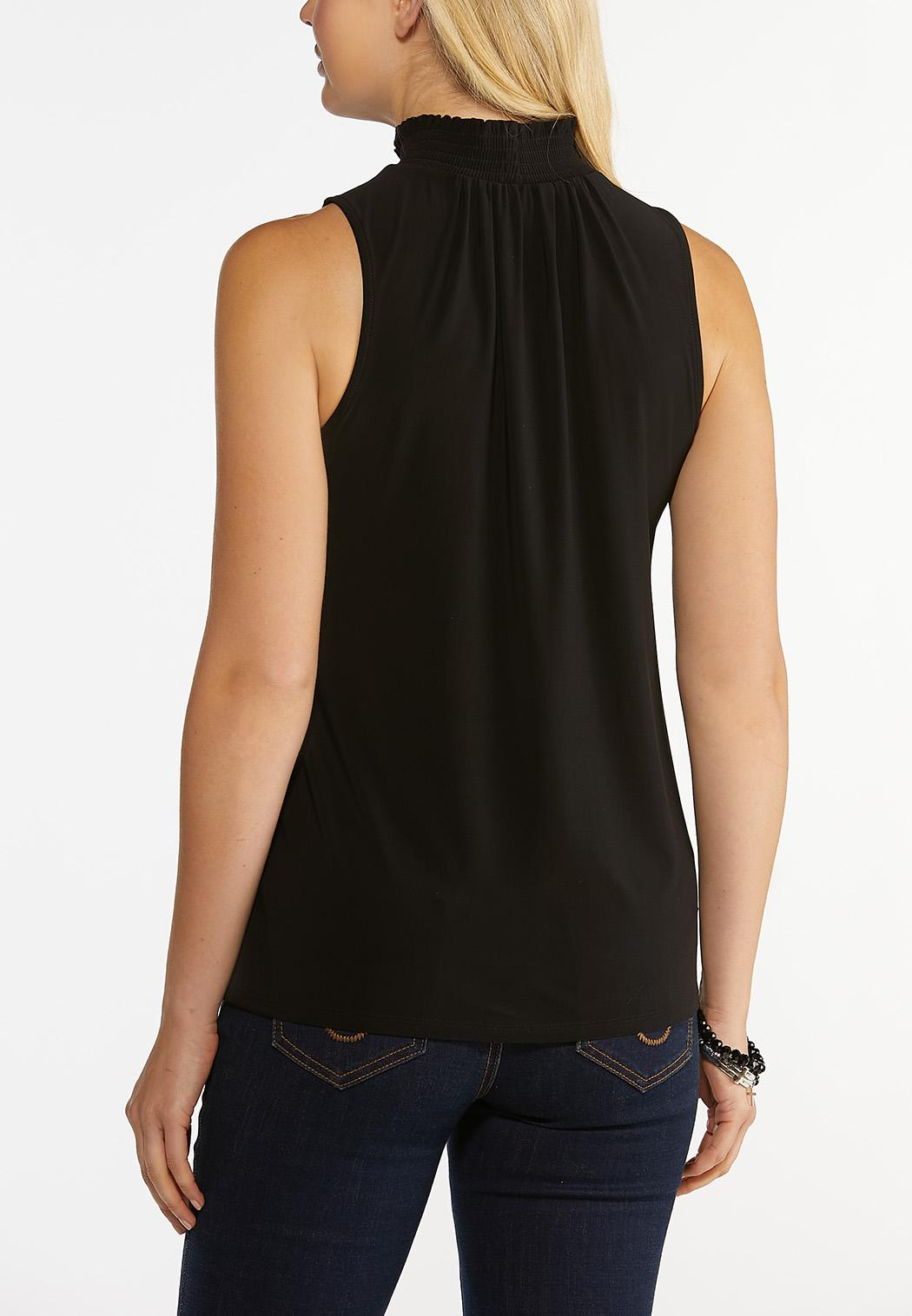 Plus Size Black Mock Neck Top (Item #44497131)