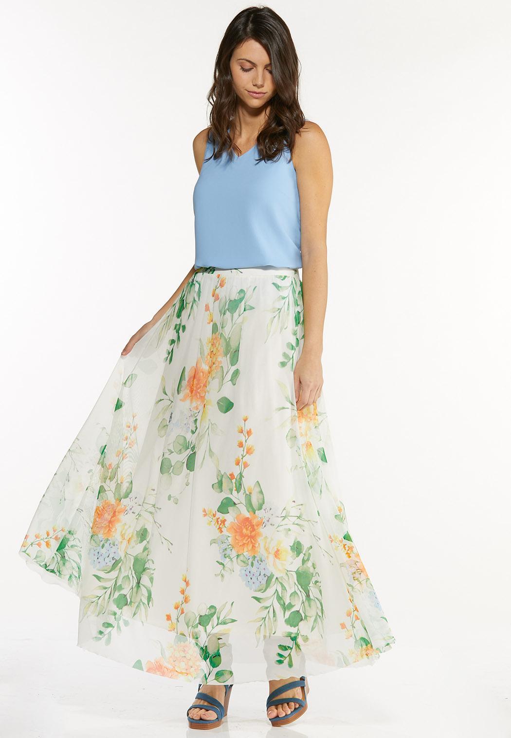 Plus Size Mesh Floral Maxi Skirt (Item #44497181)