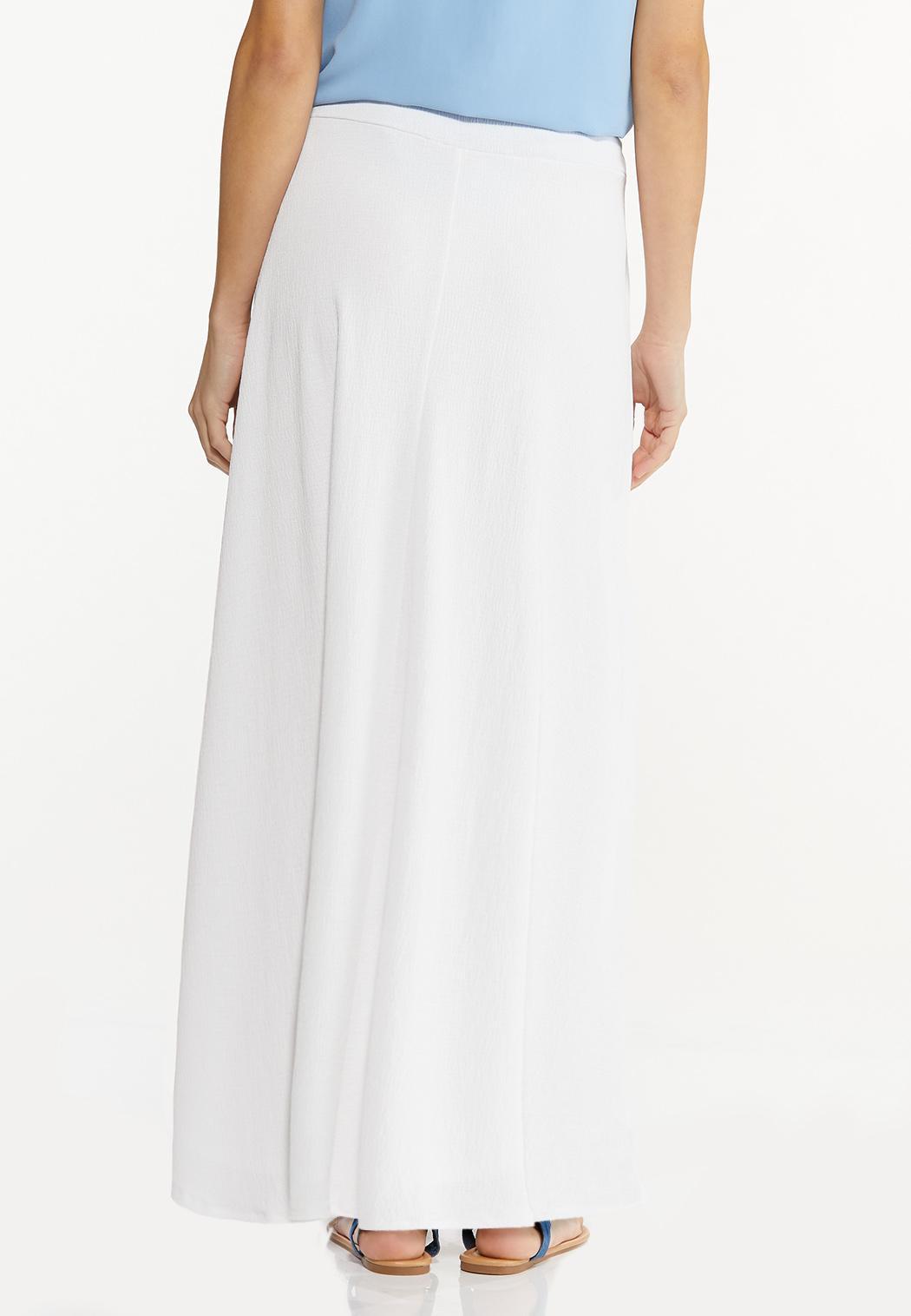 Plus Size Gauze Tie Waist Maxi Skirt (Item #44497286)