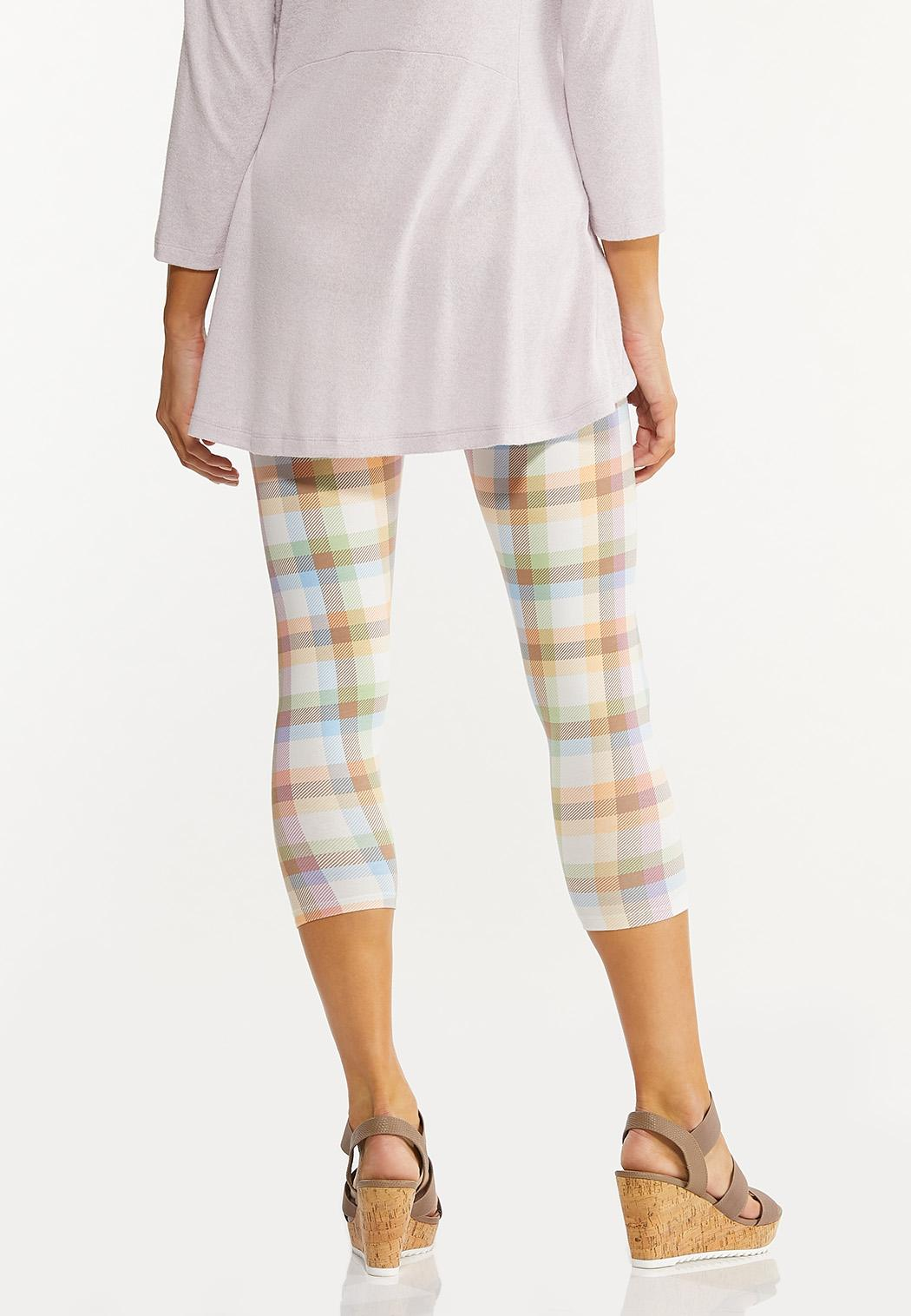 Cropped Pastel Plaid Leggings (Item #44497551)