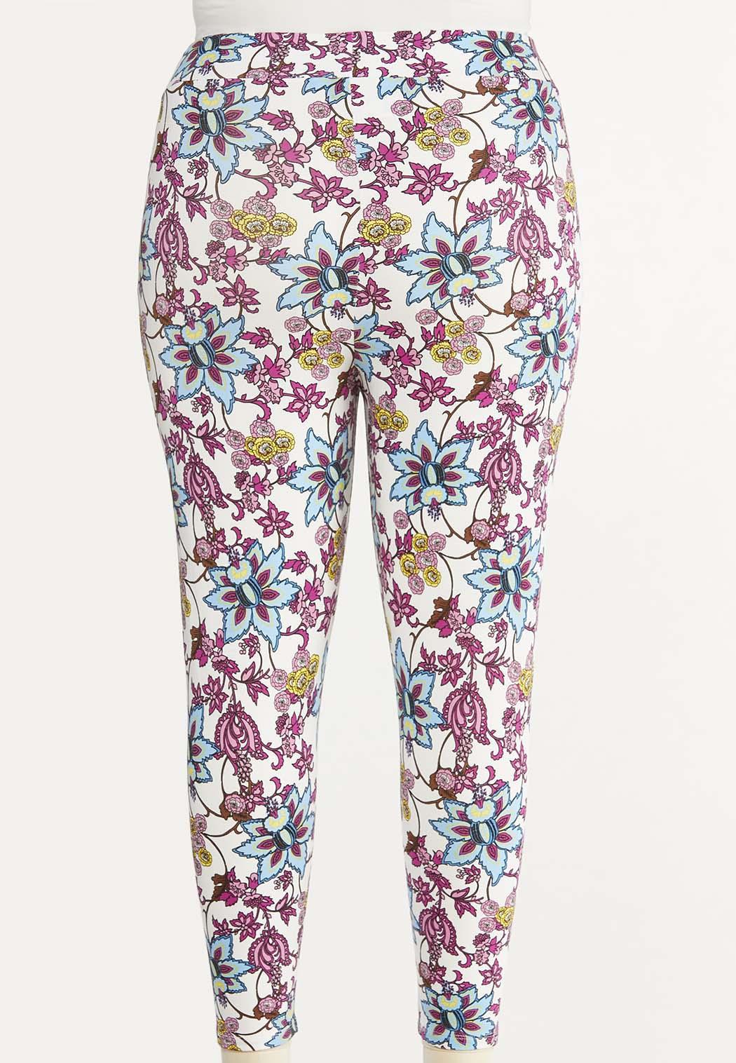 Plus Size Cropped Purple Floral Pants (Item #44497682)