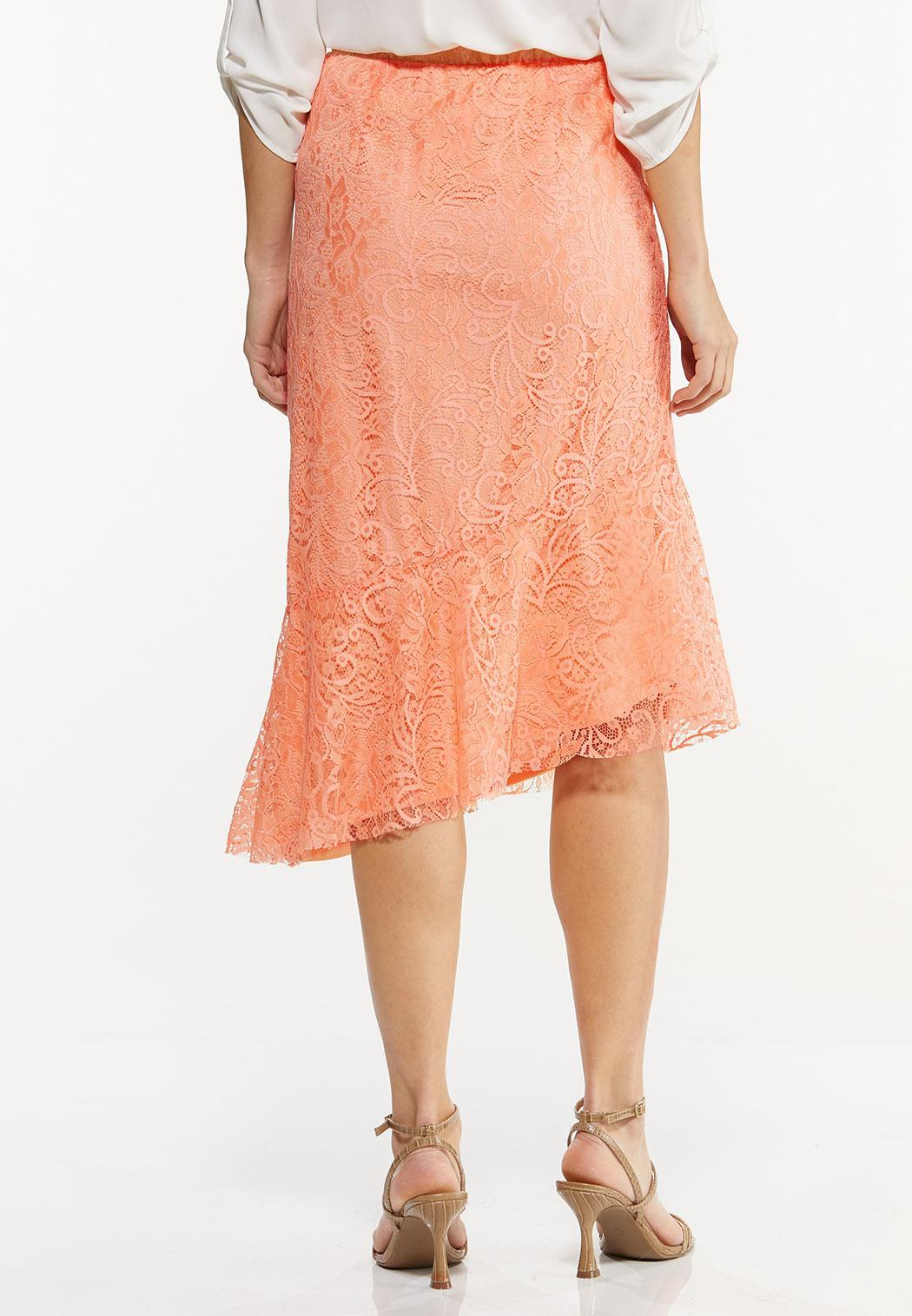 Plus Size Asymmetrical Lace Midi Skirt (Item #44498194)