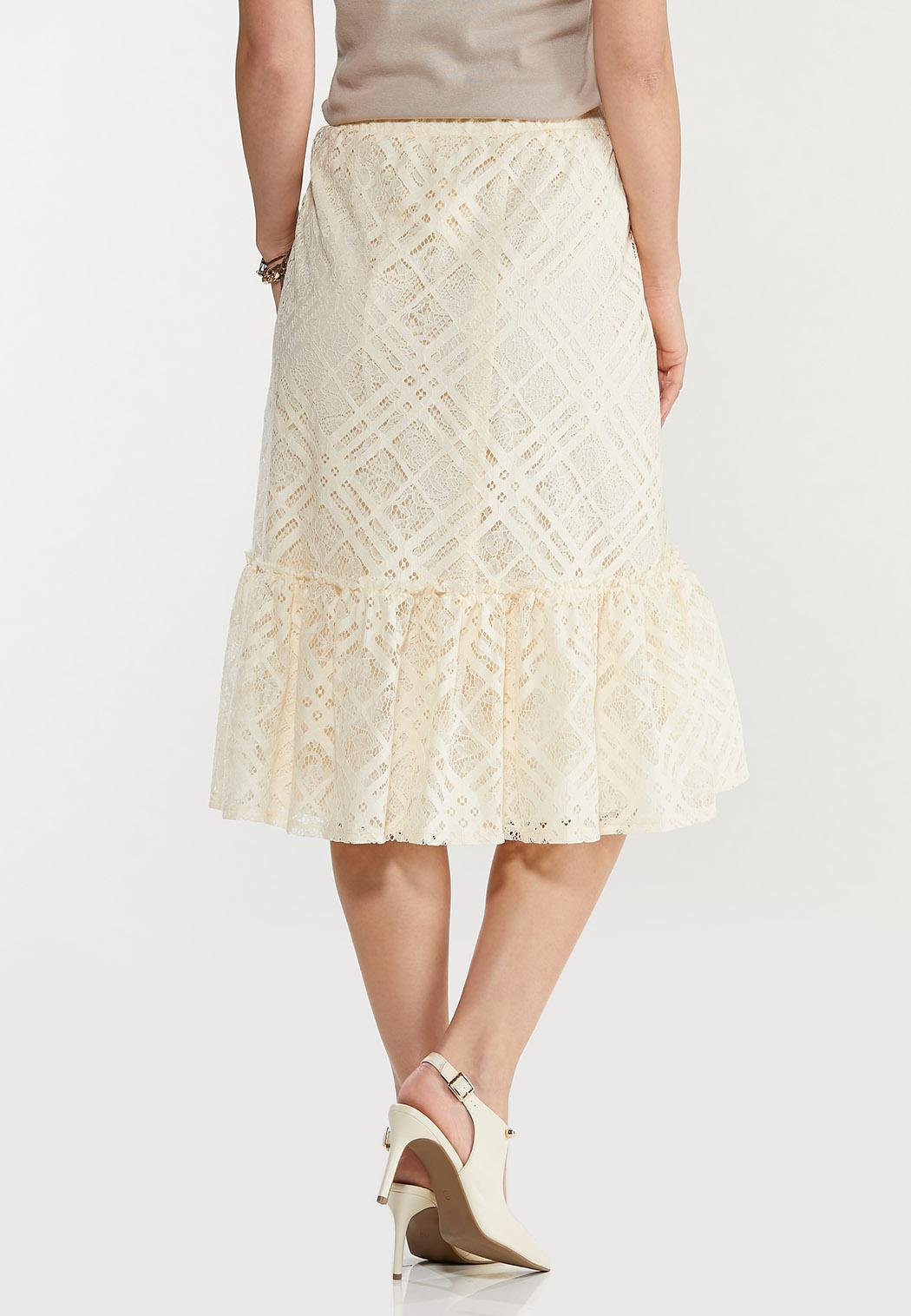 Plus Size Lace Button Front Midi Skirt (Item #44498216)