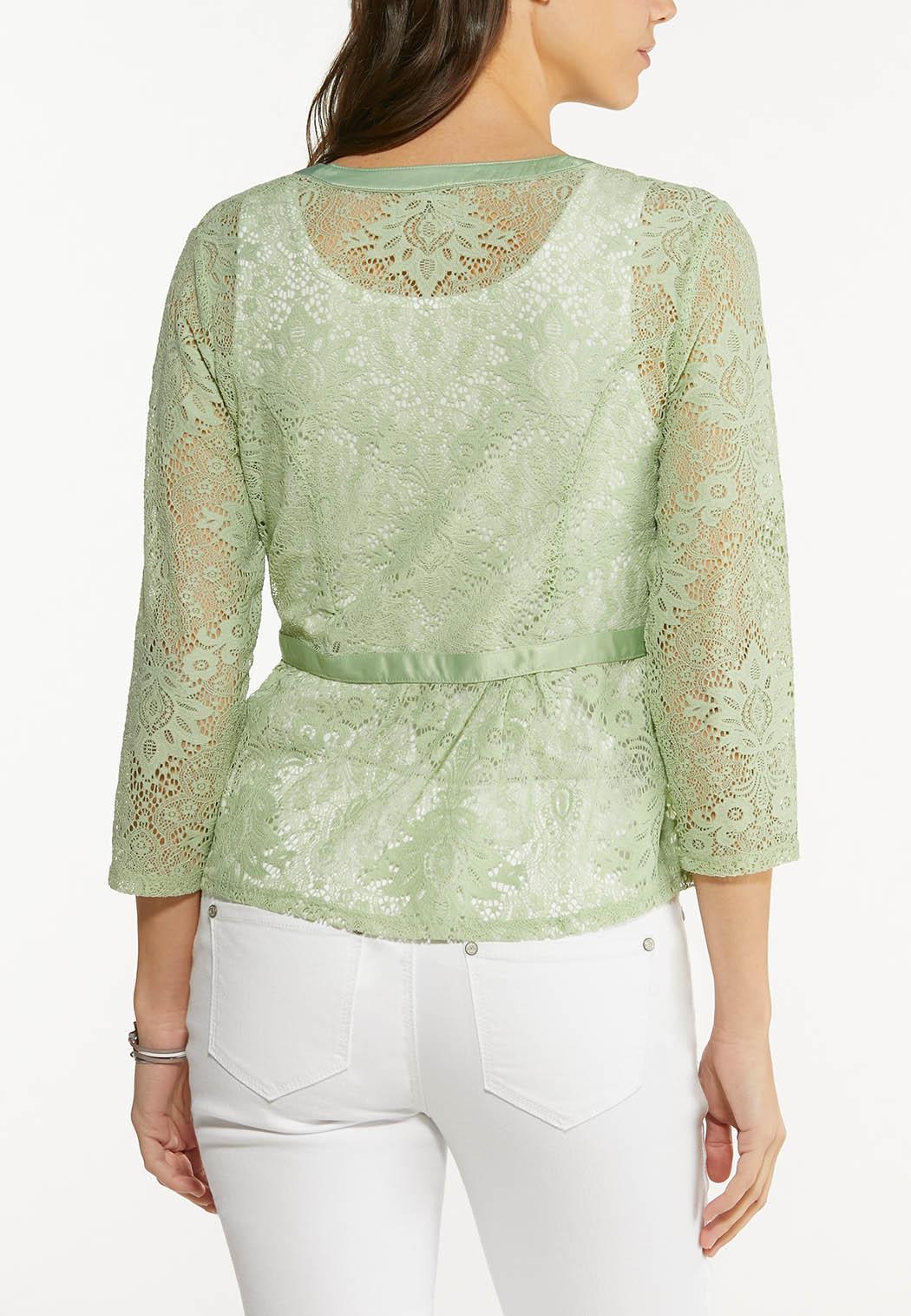 Plus Size Peplum Lace Cardigan (Item #44498421)