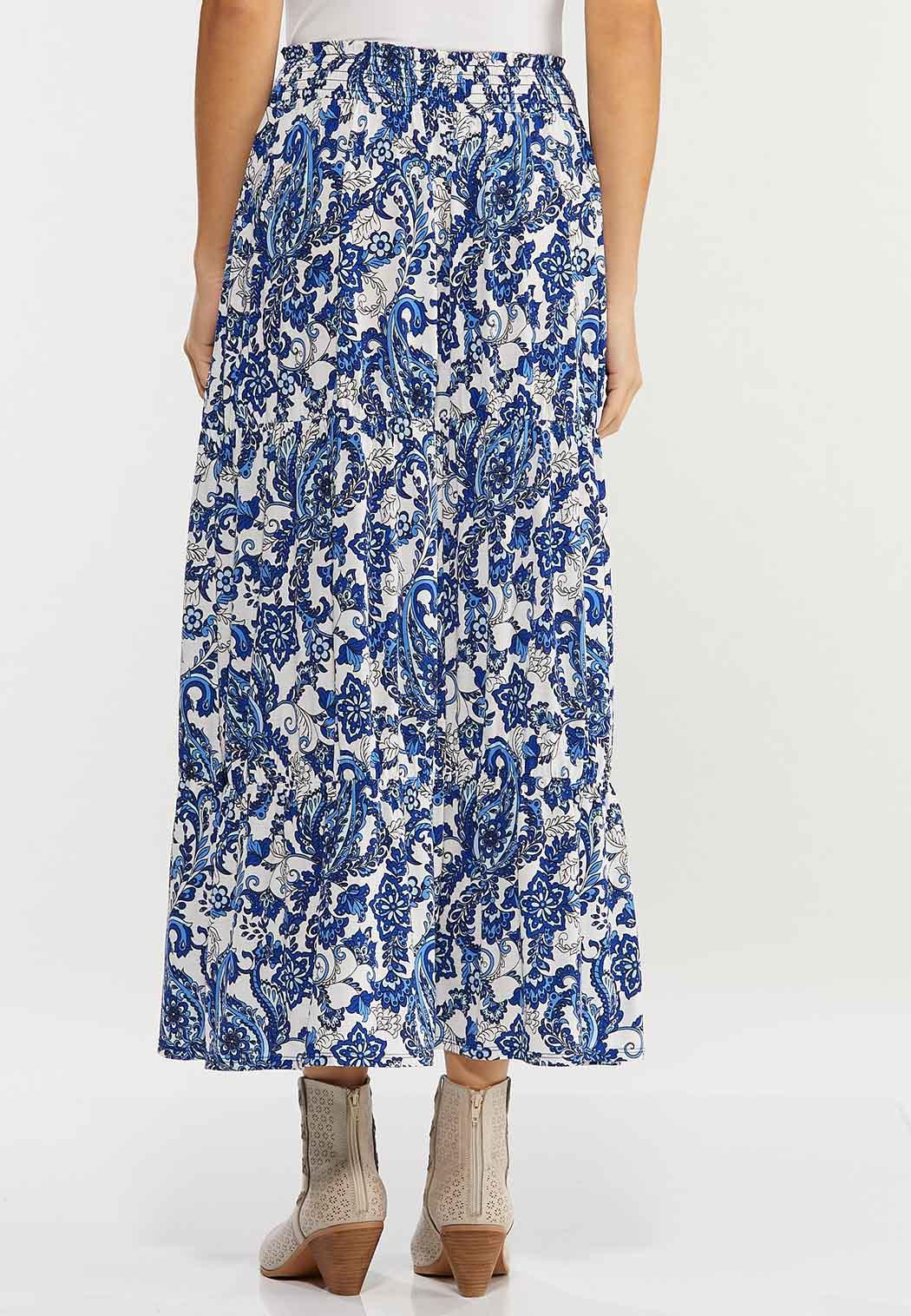Plus Size Tiered Paisley Maxi Skirt (Item #44498472)