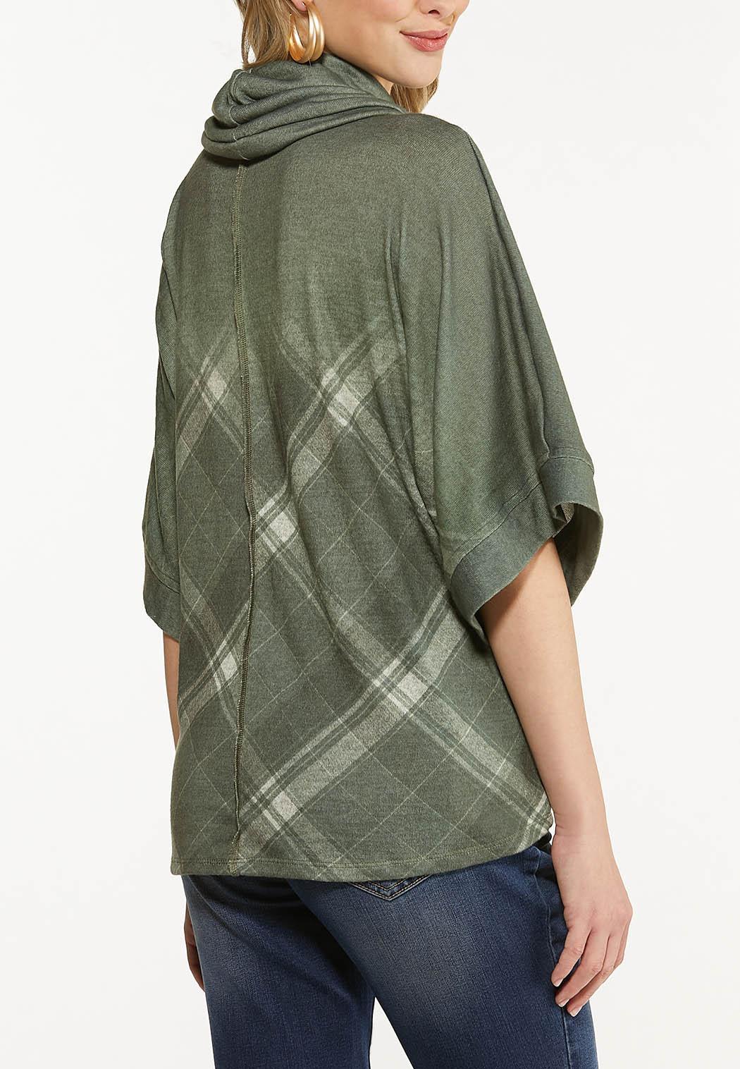 Plus Size Plaid Cowl Neck Top (Item #44499484)