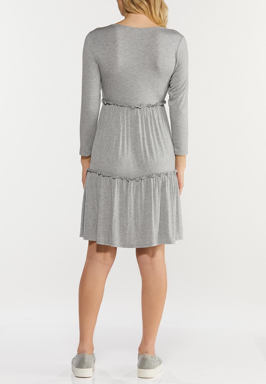 Plus Size Gray Ruffled Babydoll Dress (Item #44500370)