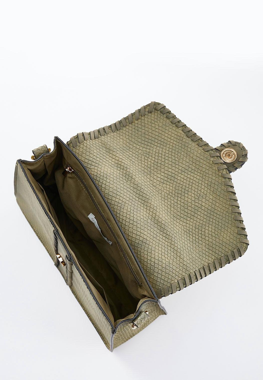 Whipstitch Trim Textured Satchel (Item #44500458)