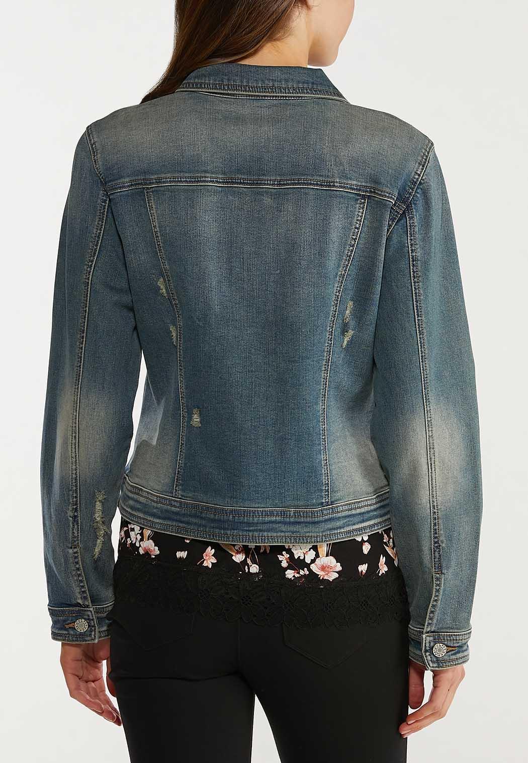 Plus Size Distressed Denim Jacket (Item #44500472)