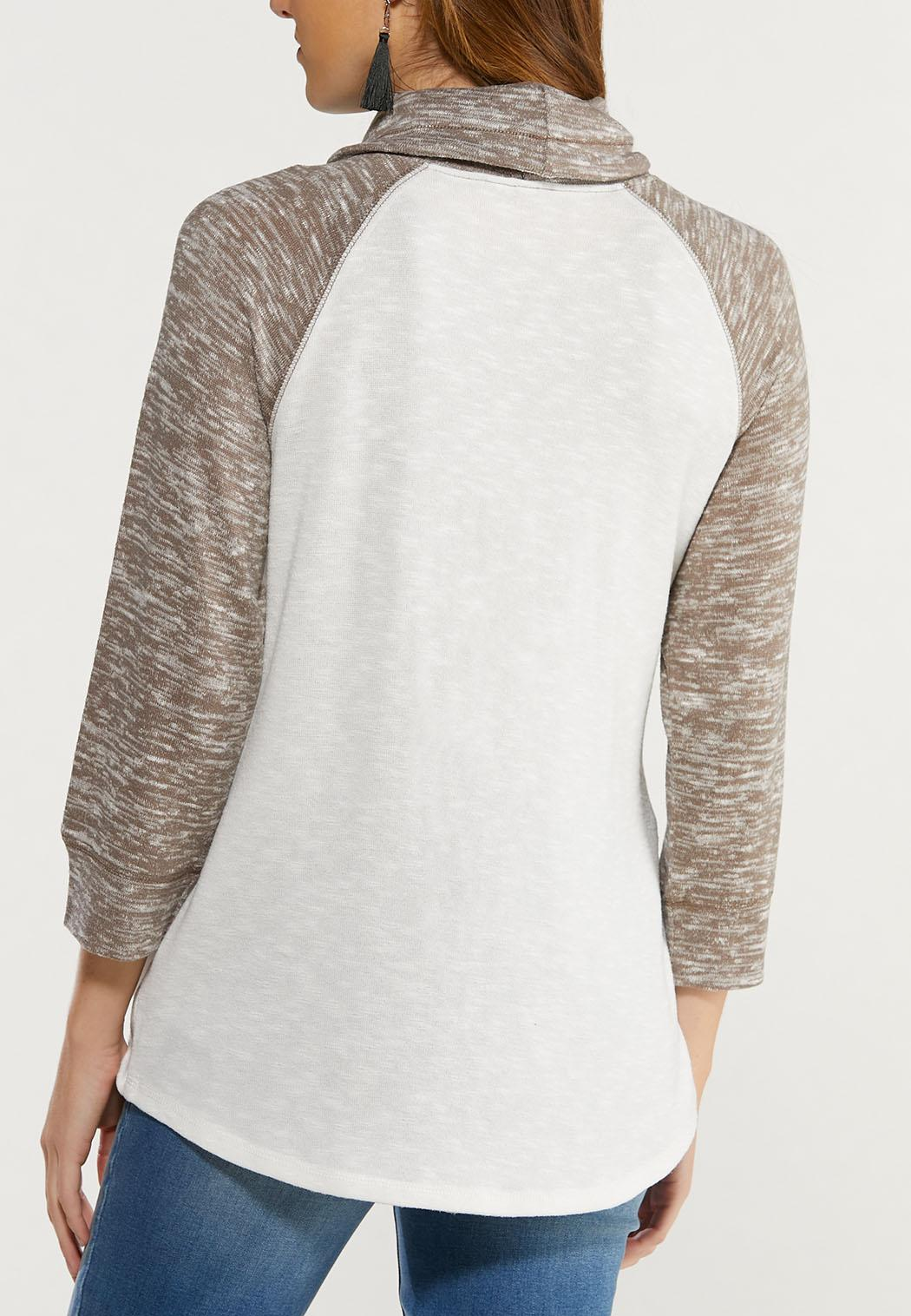 Plus Size Inspirational Cowl Neck Top (Item #44501707)