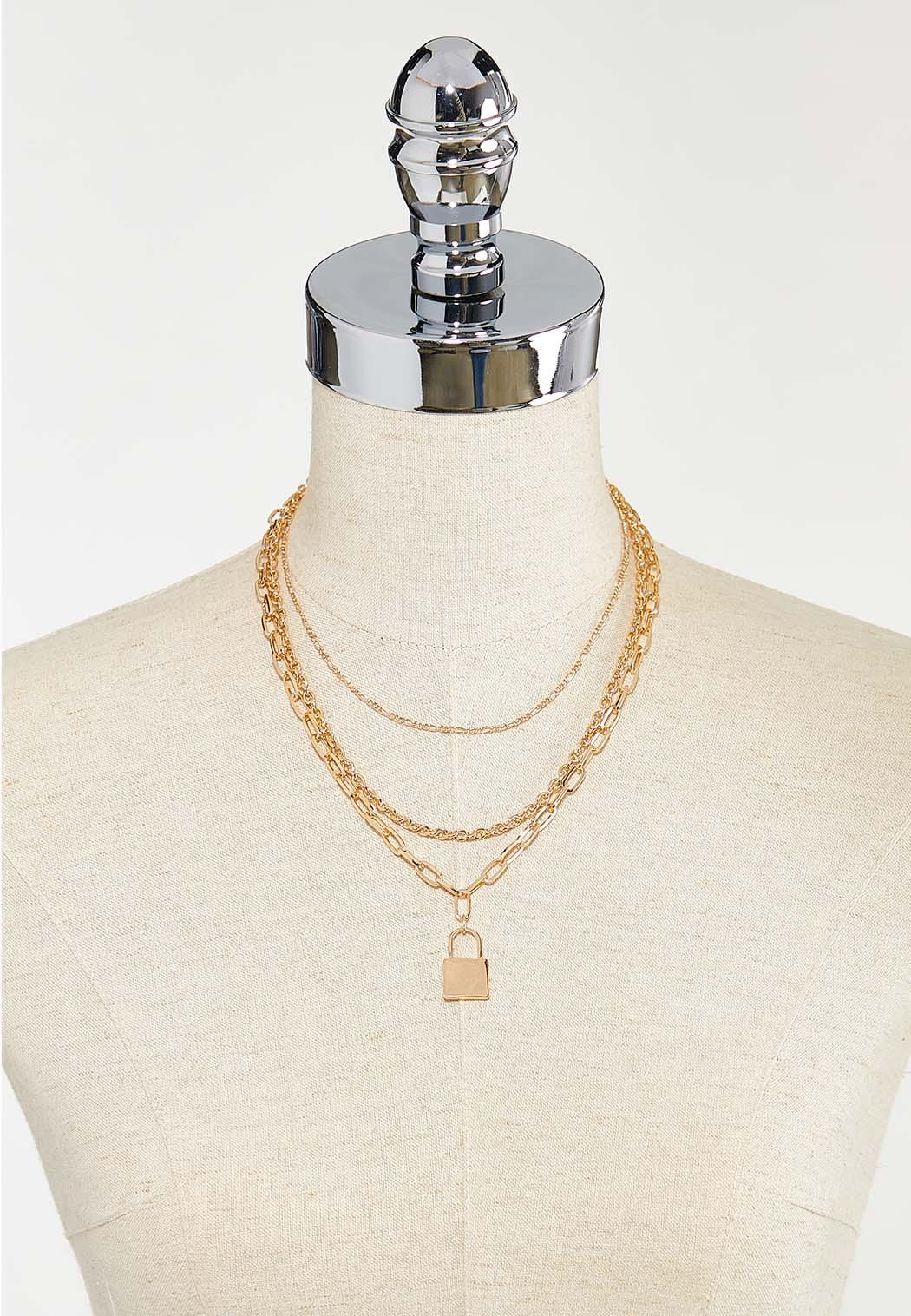 Layered chain lock necklace (Item #44501951)