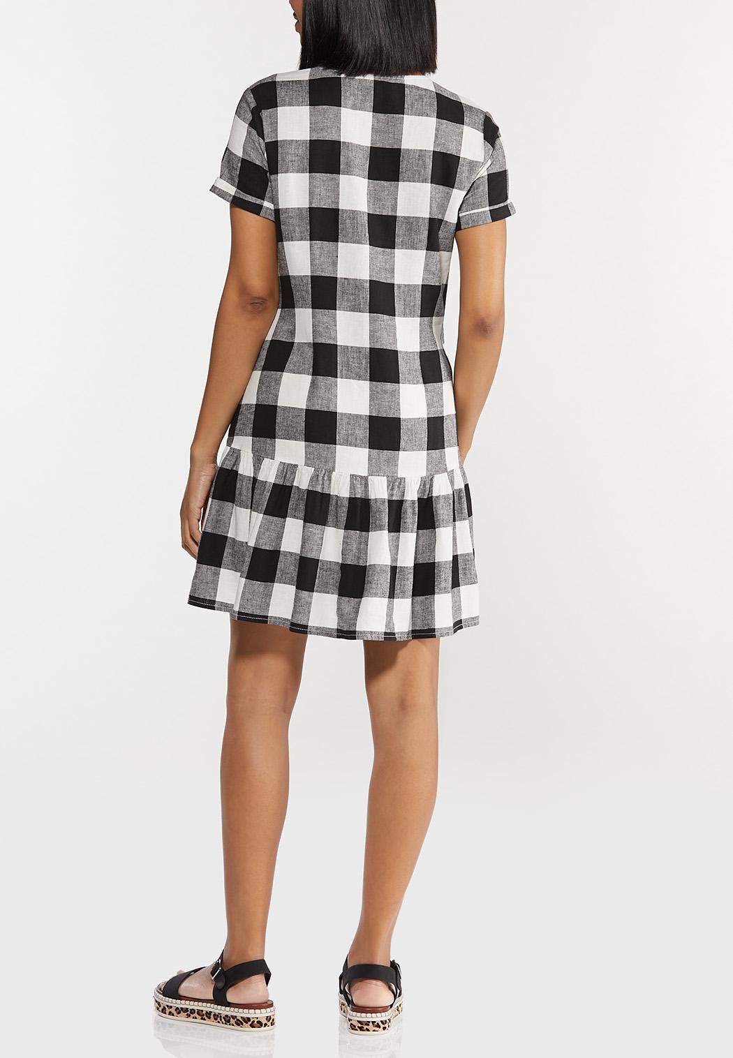 Plus Size Black And White Gingham Dress (Item #44502579)