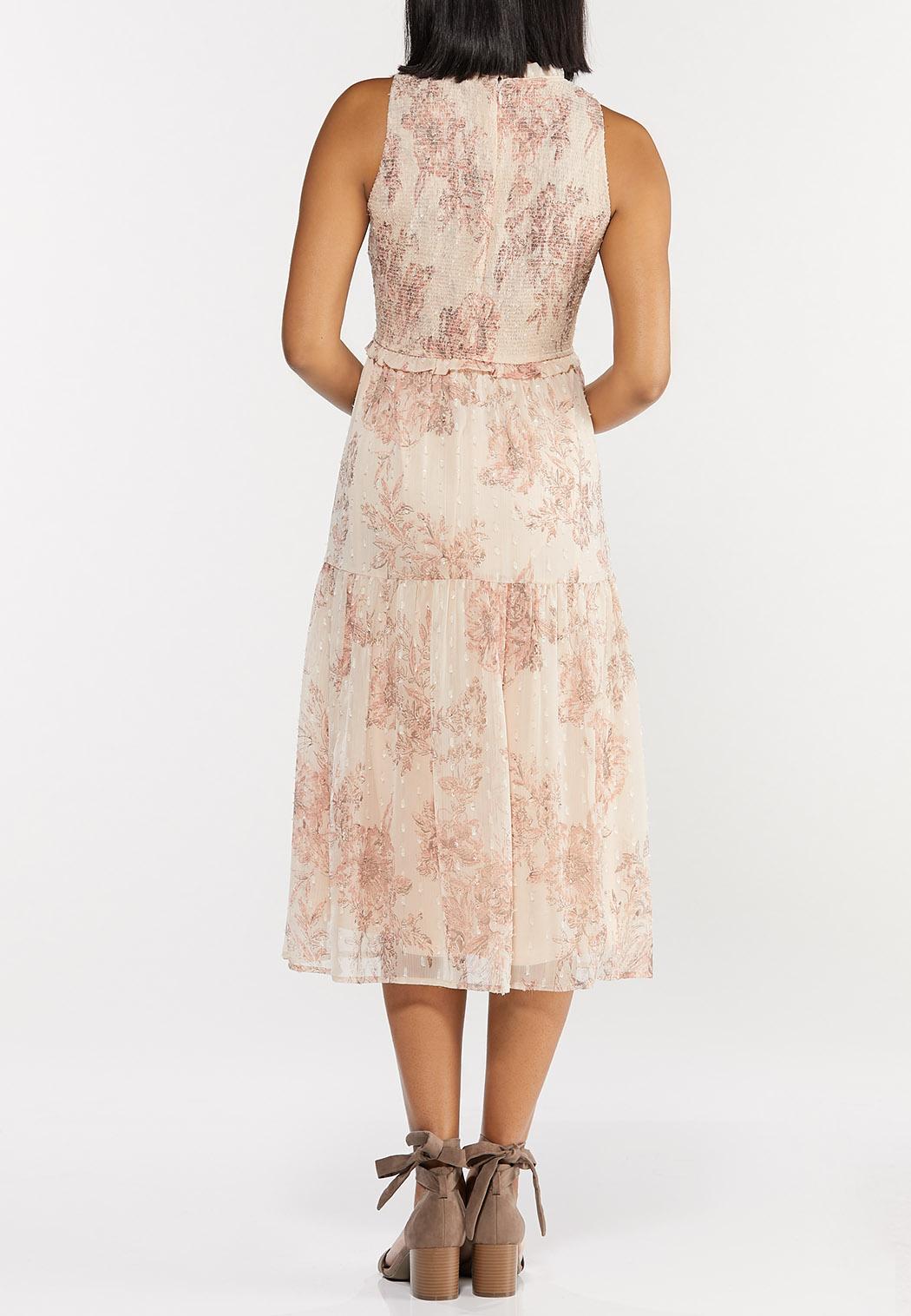 Smocked Vintage Floral Midi Dress (Item #44502911)