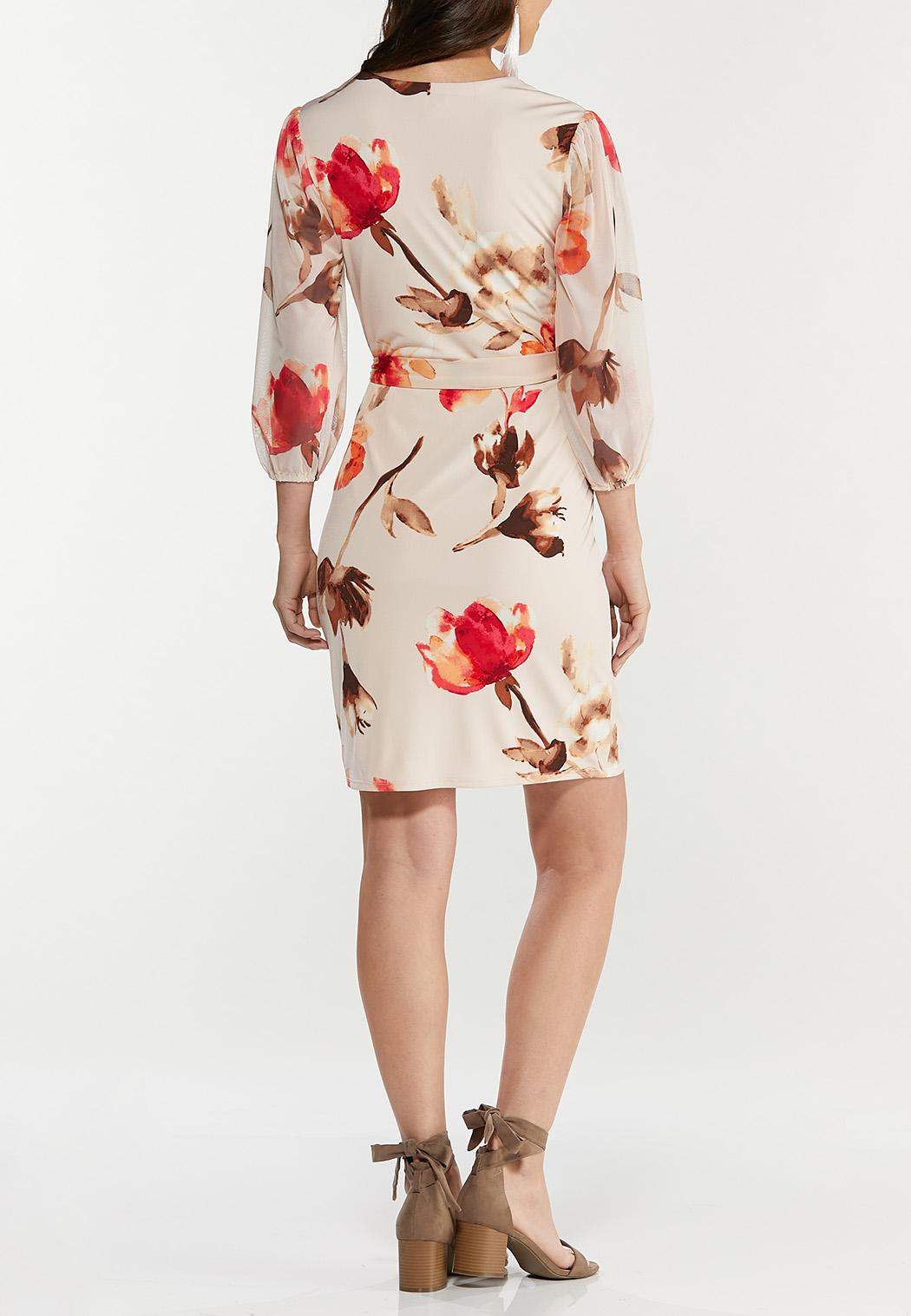 Plus Size Mesh Floral Wrap Dress (Item #44503400)