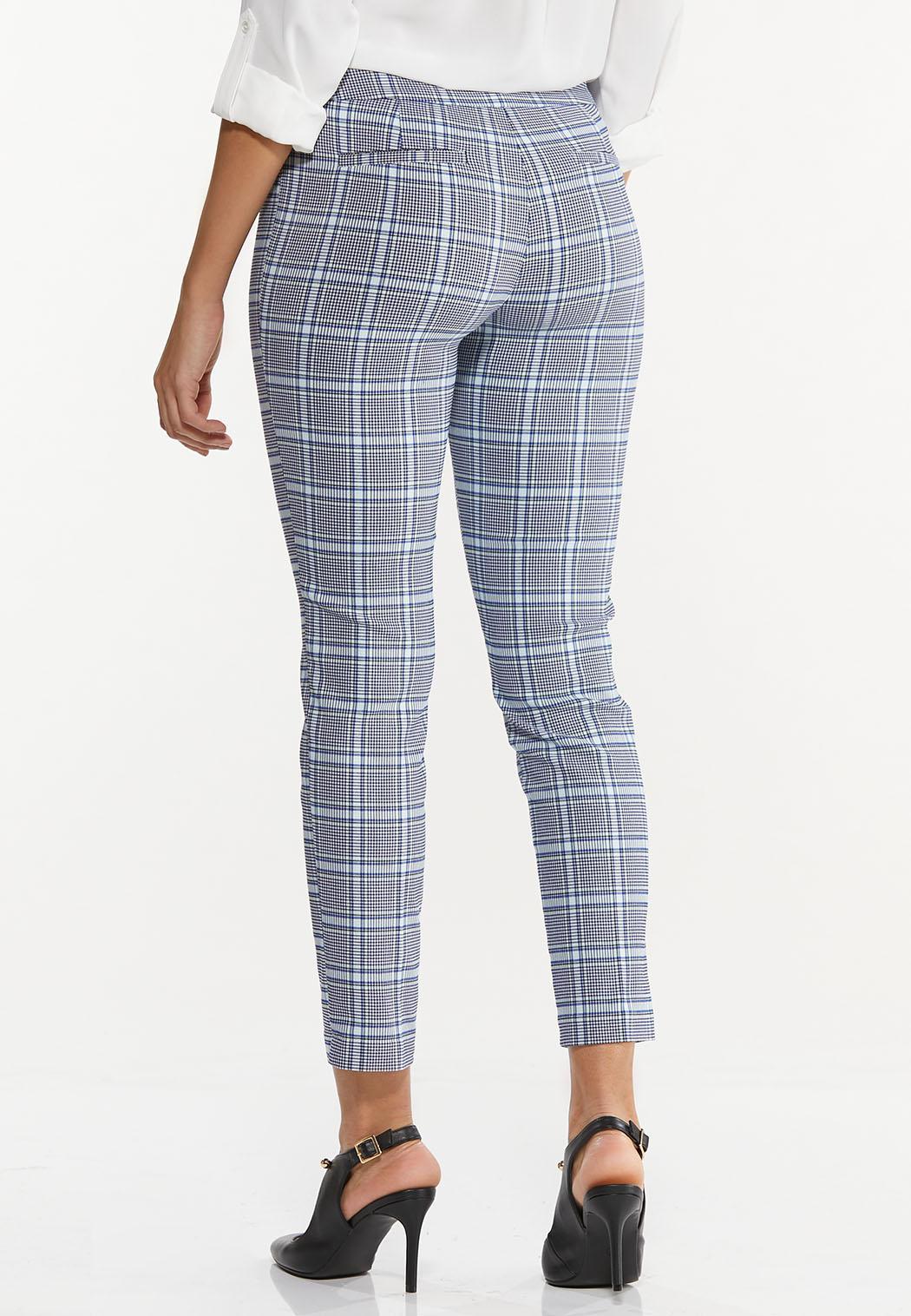 Cropped Navy Plaid Pants (Item #44503612)