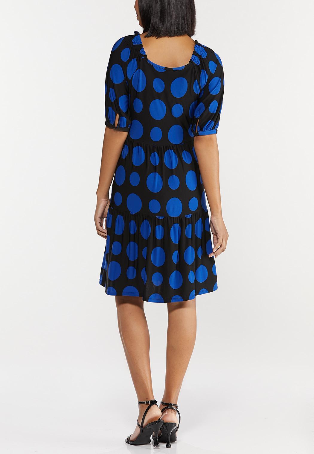 Plus Size Polka Dot Puff Sleeve Dress (Item #44503708)